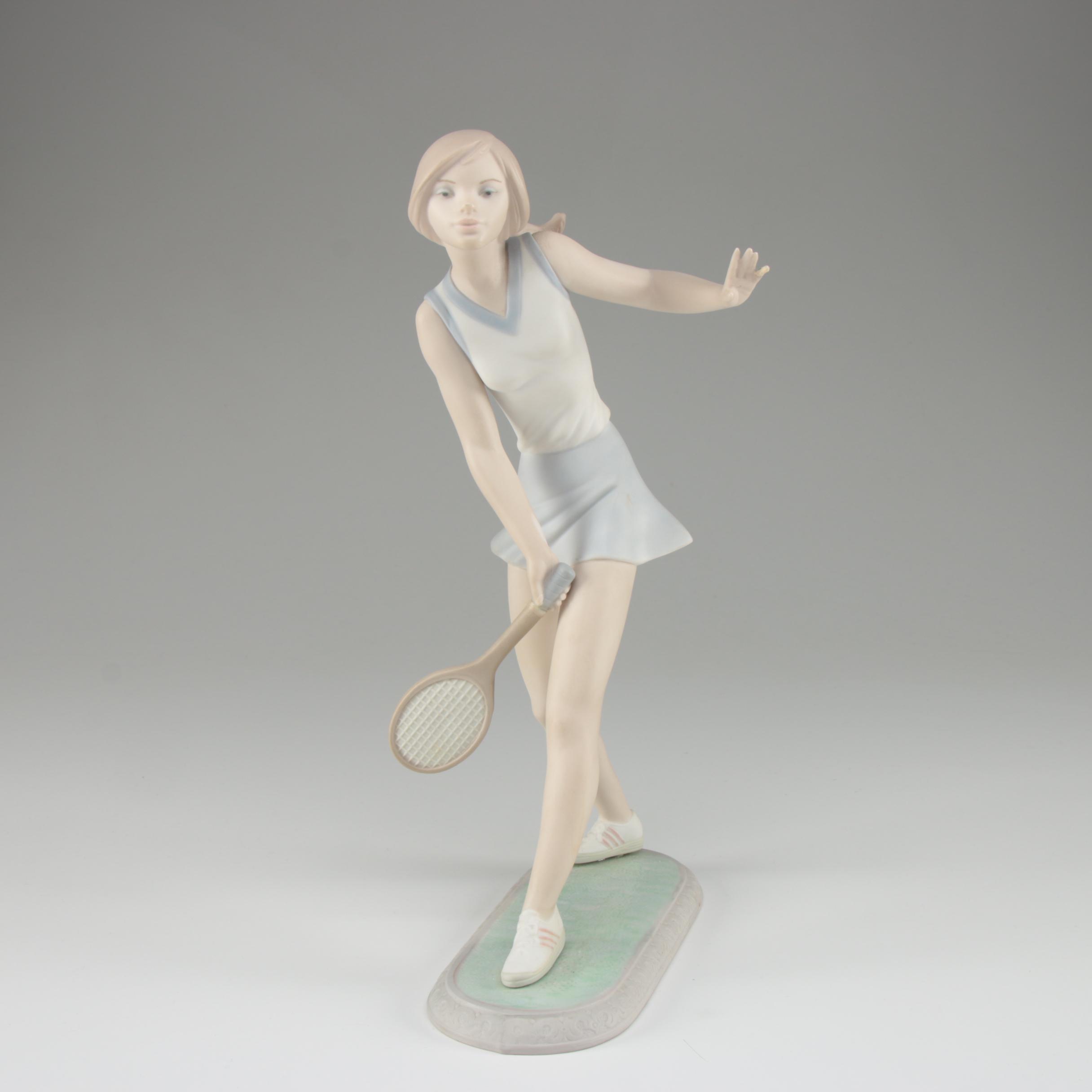 "LLadró ""Female Tennis Player"" Porcelain Bisque Figurine"