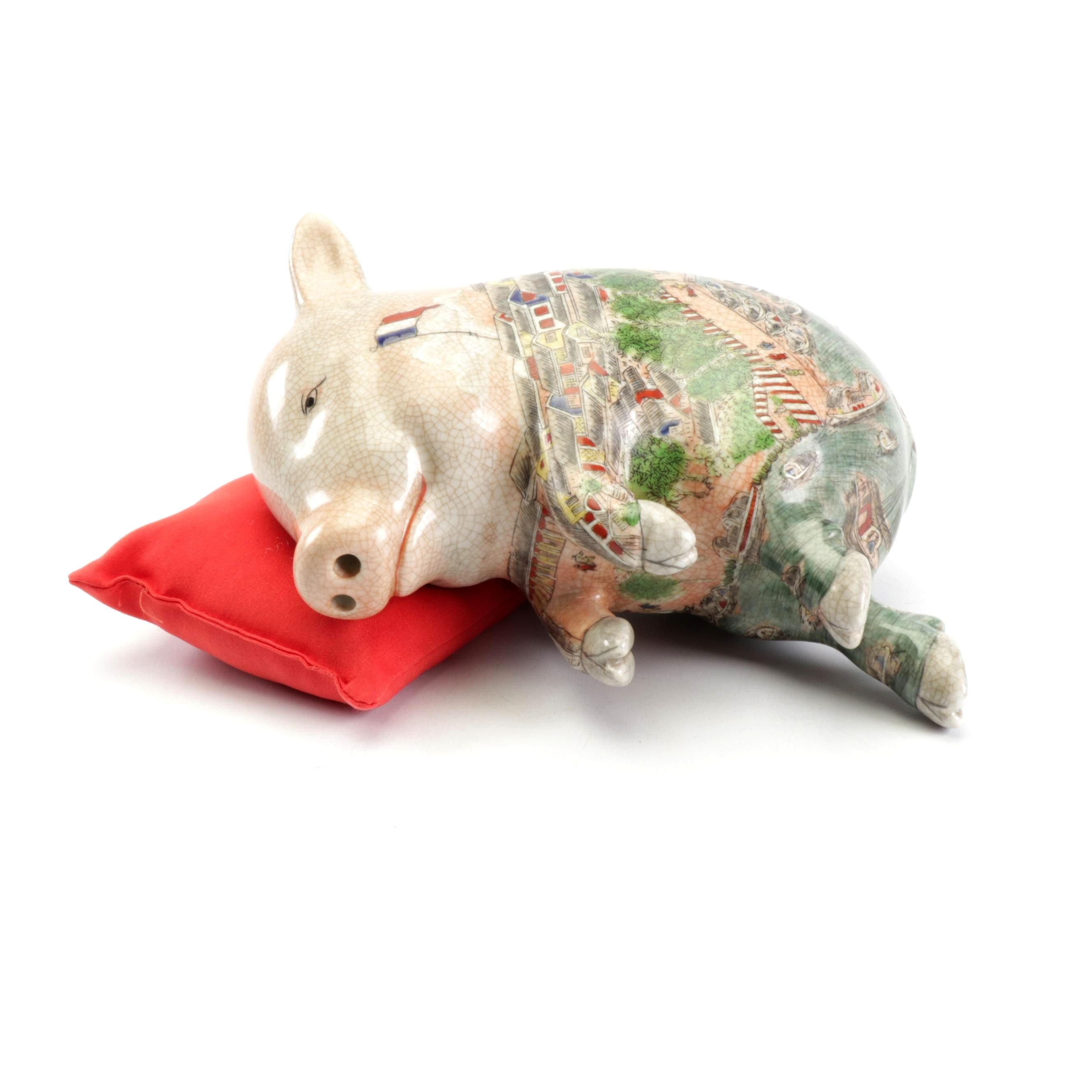 Chinese Porcelain Hand-Painted Lucky Sleeping Pig with Pillow
