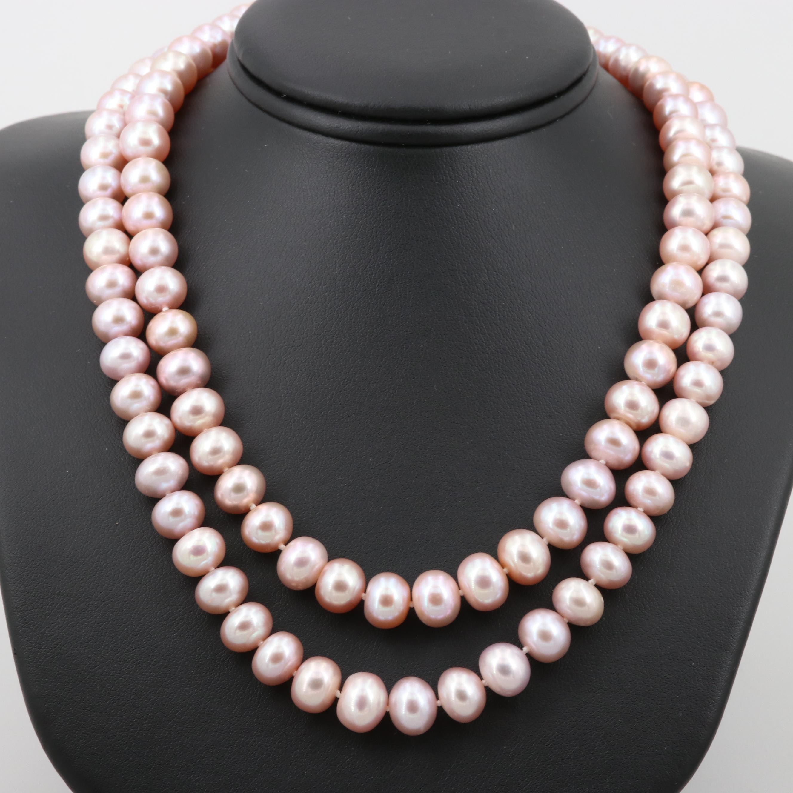 Sterling Silver Cultured Pearl Double-Stranded Necklace