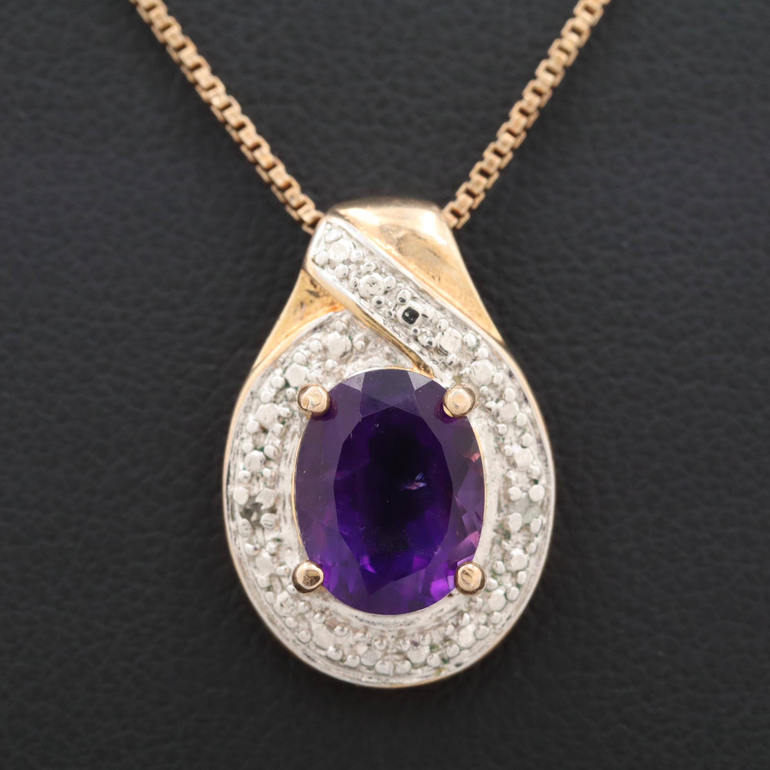 Gold Wash on Sterling Silver Amethyst and Diamond Pendant Necklace