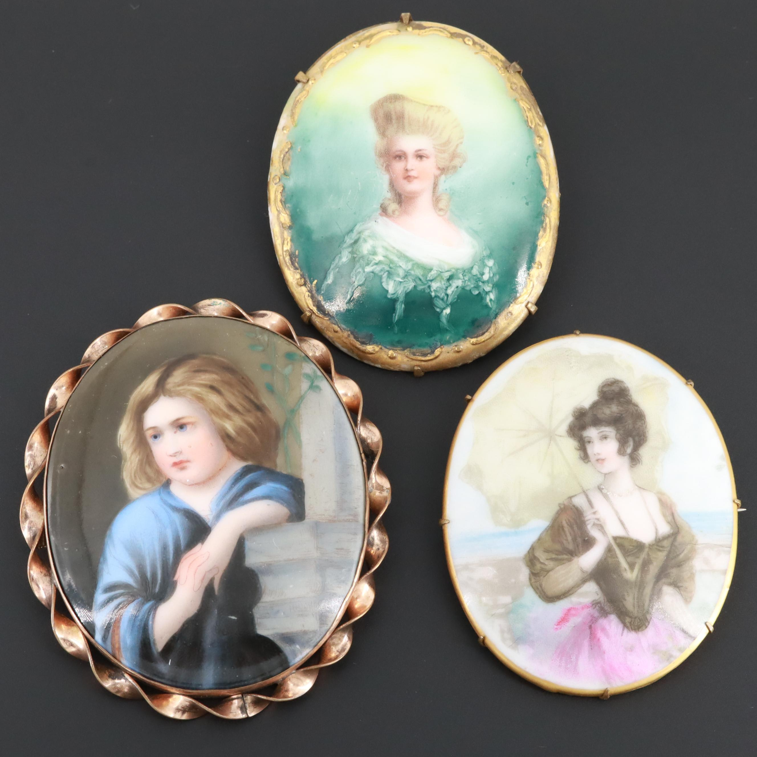 Victorian Style Portrait Brooches