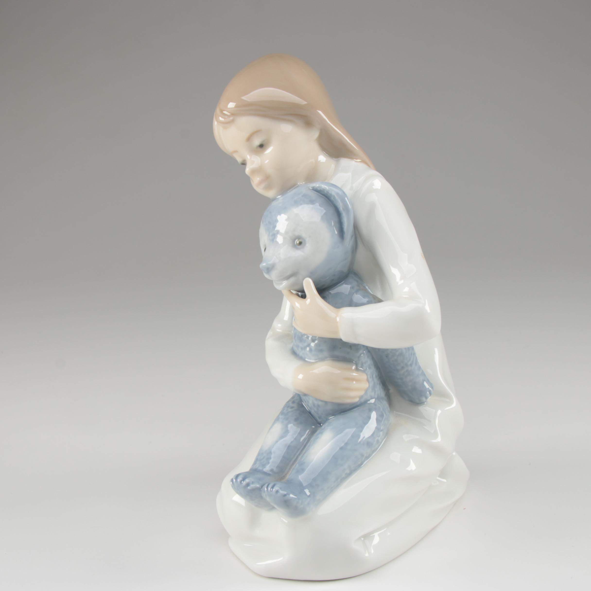 "Nao by Lladró ""Girl with Bear"" Porcelain Figurine"