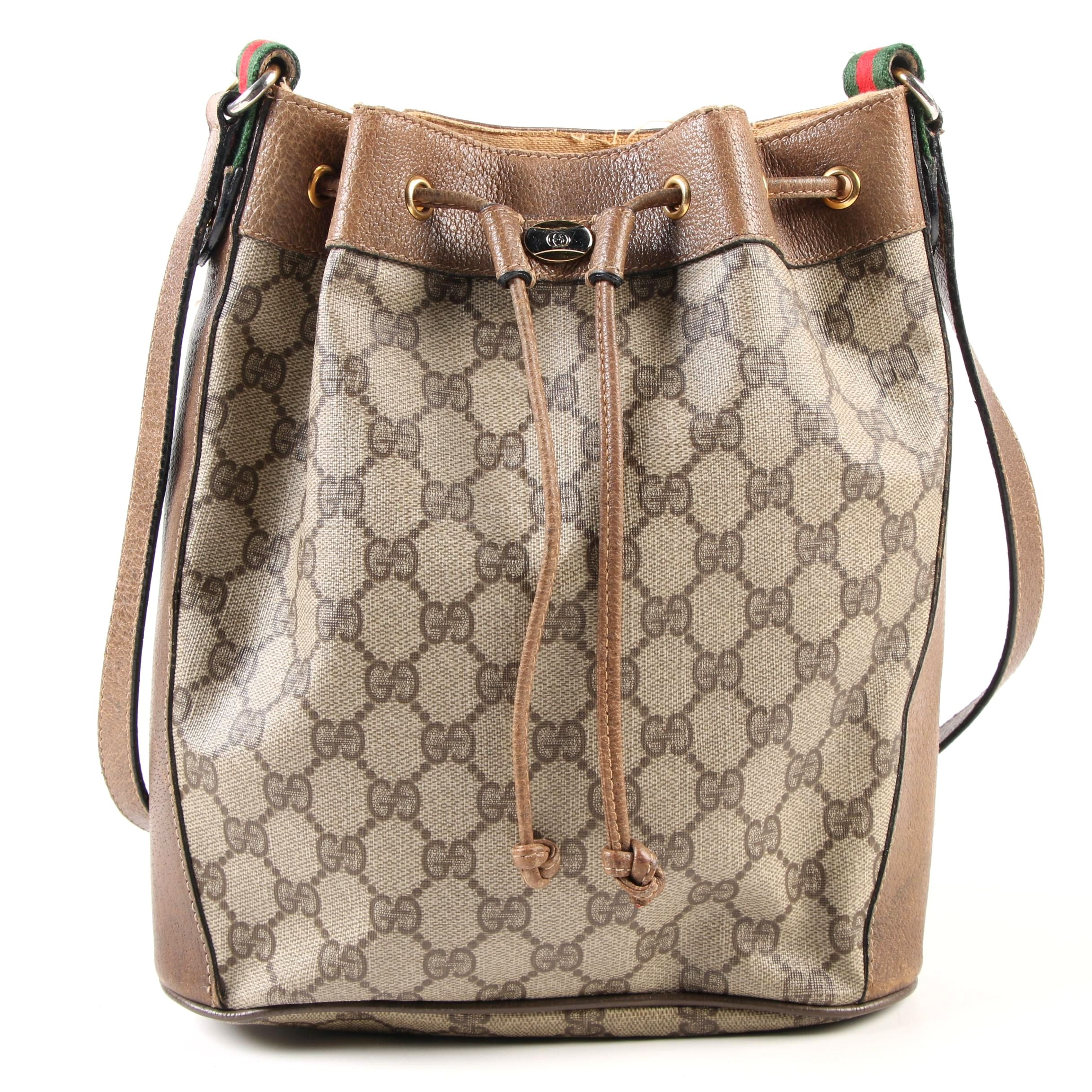Gucci Accessory Collection Bucket Bag in GG Signature Canvas and Leather