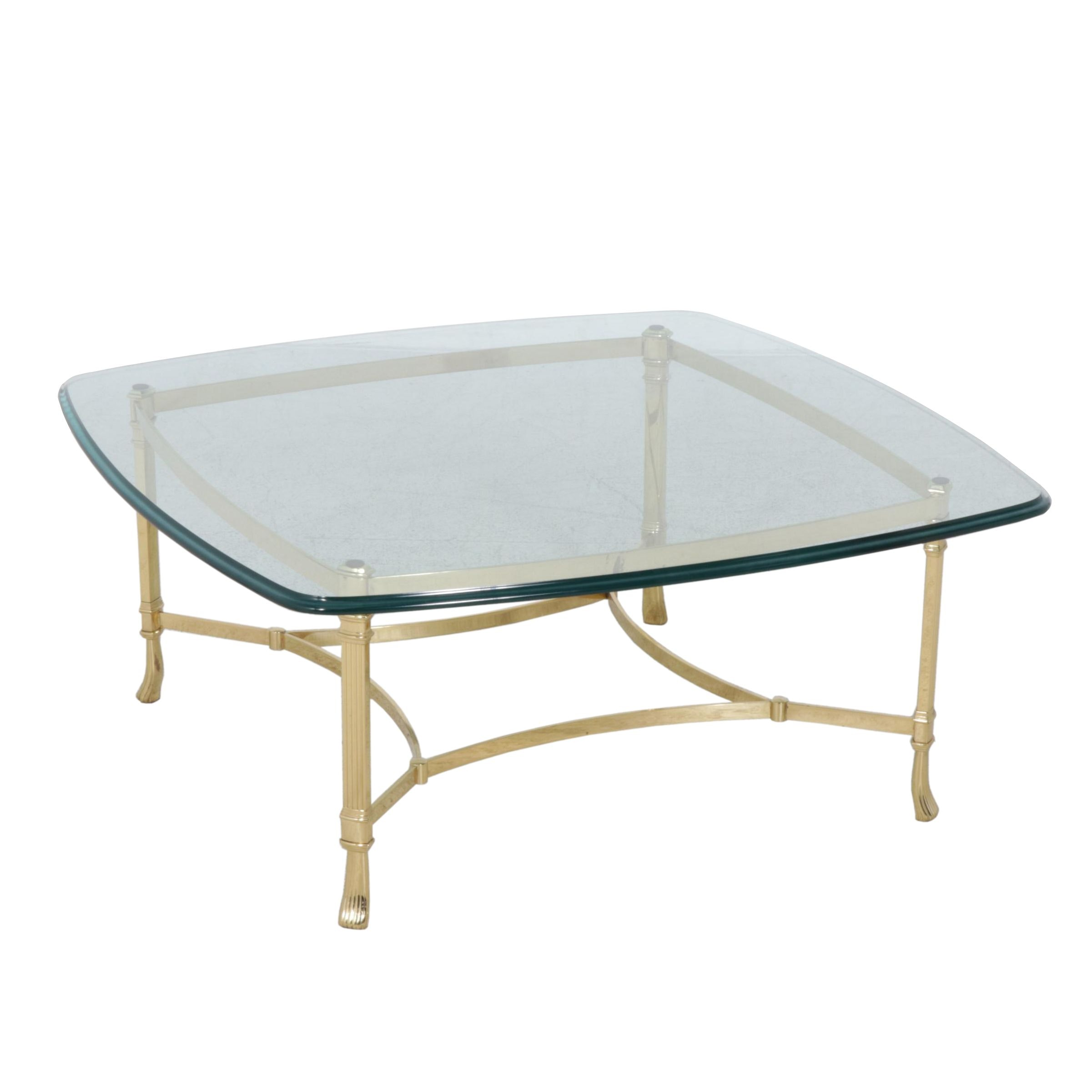 Contemporary Harden Coffee Table with Glass Top and Brass Base