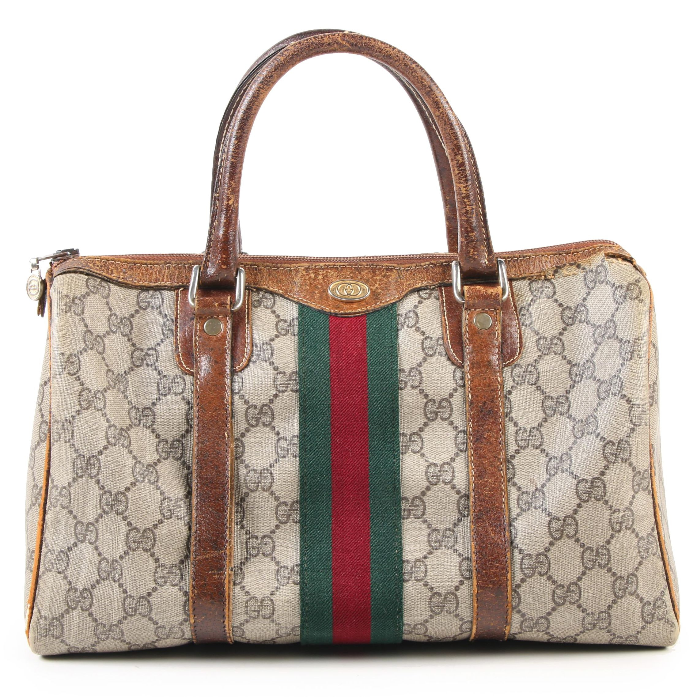 Gucci Boston Bag in GG Supreme Canvas and Leather, Vintage