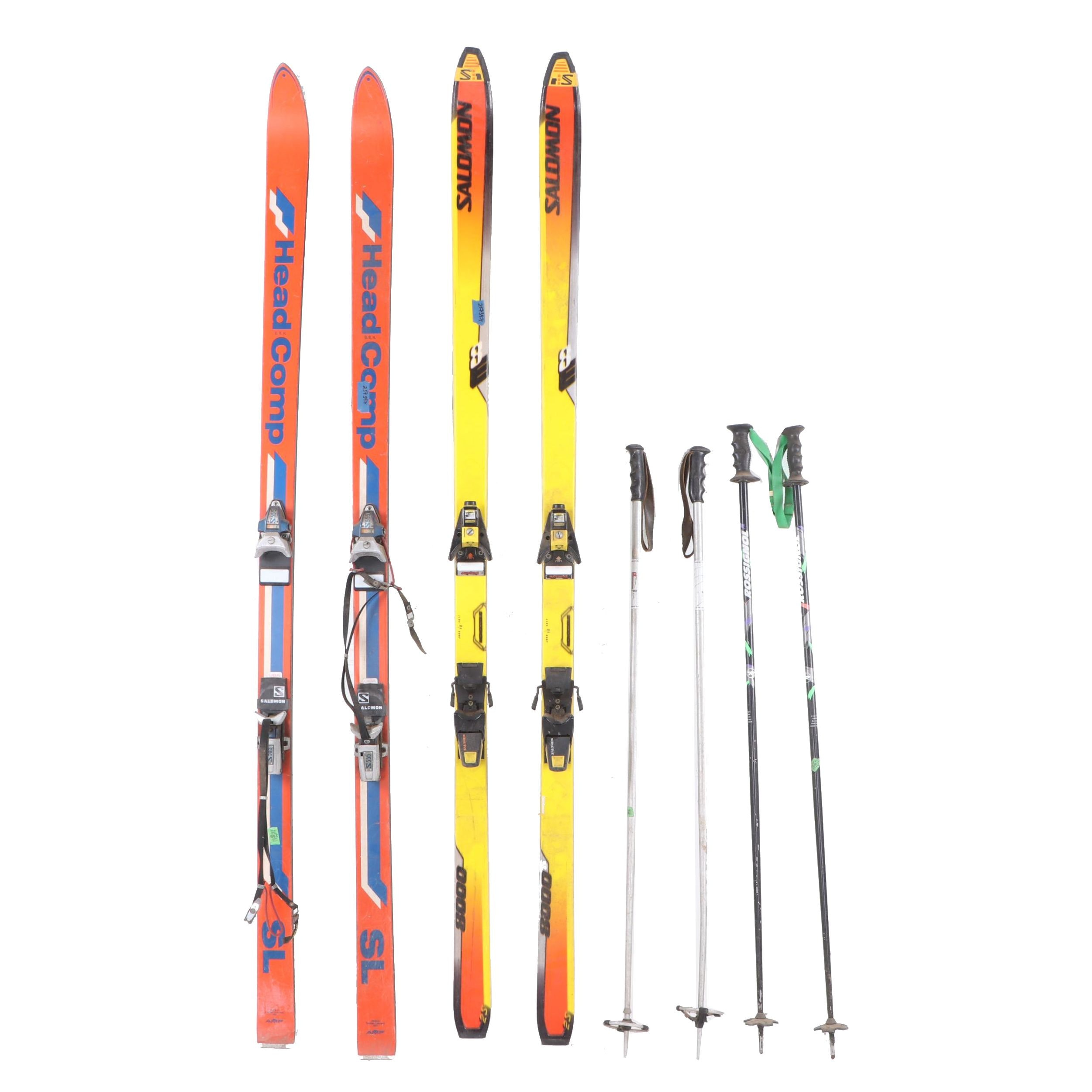 Salomon 8000 and Head Comp SL Skis with Poles