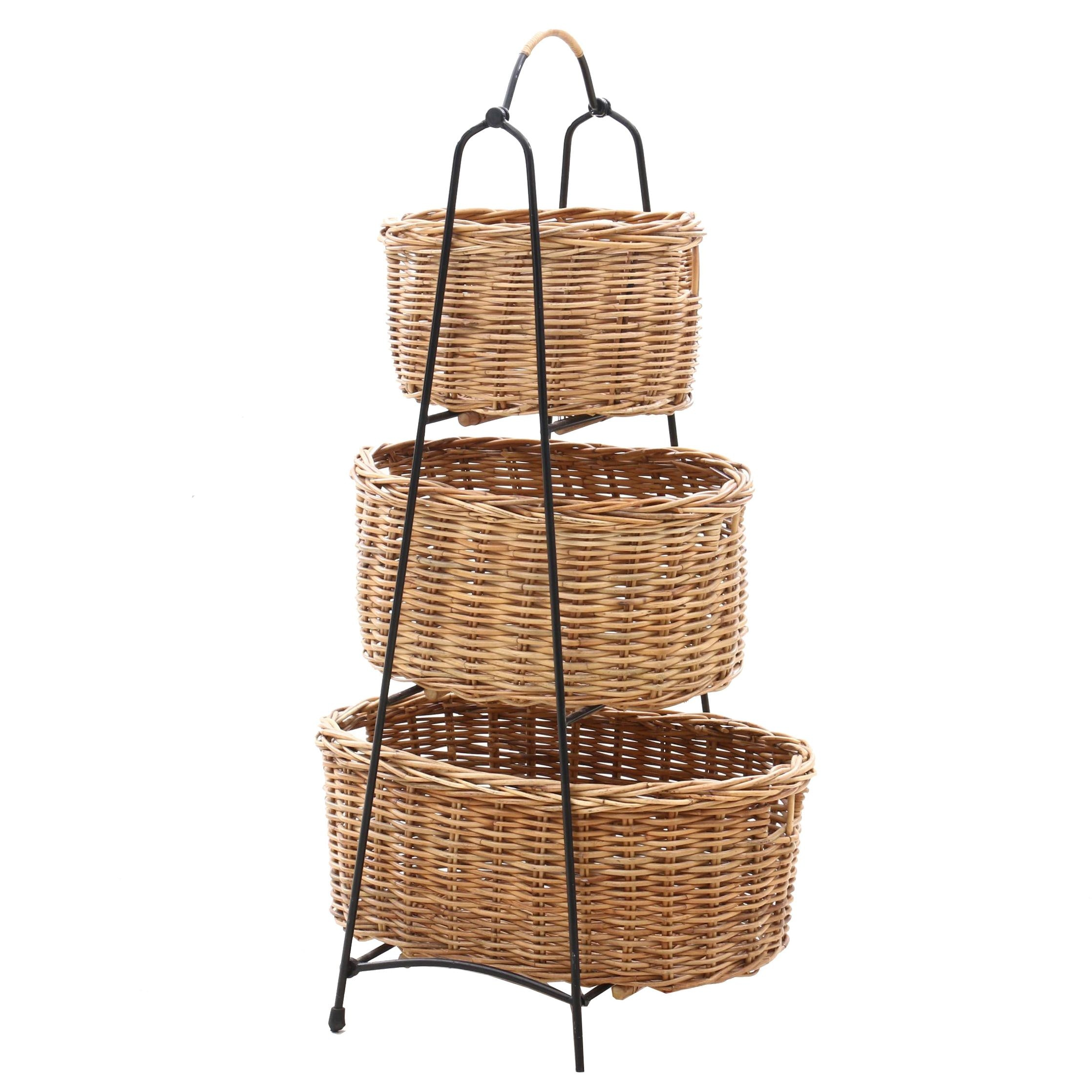 Stand with Wicker Weave Baskets