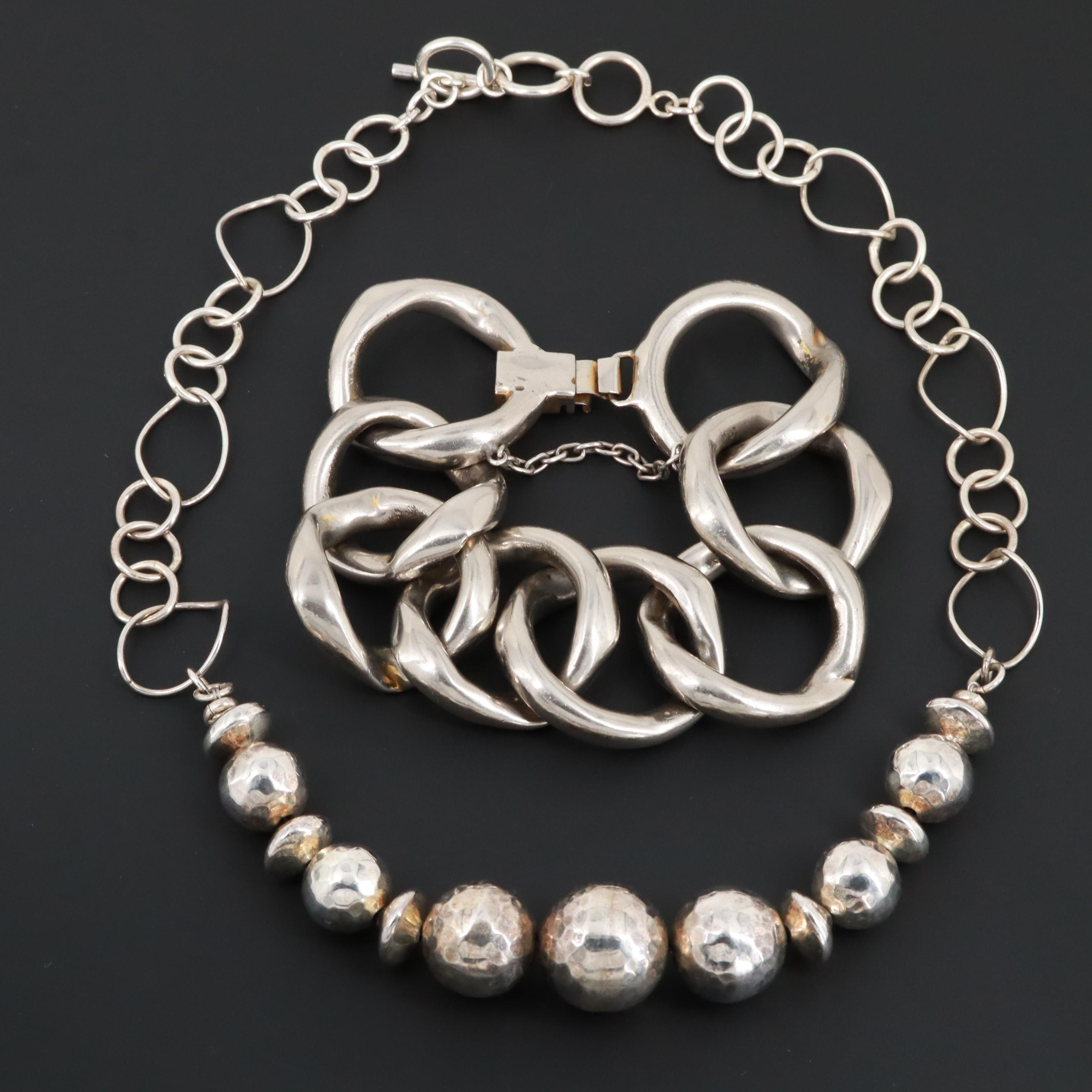 Silver Tone Necklace and Bracelet