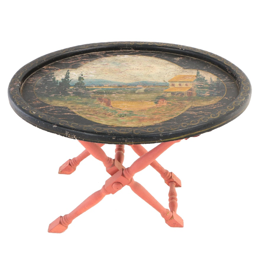 Polychrome-Decorated Folding Tray Table, 20th Century