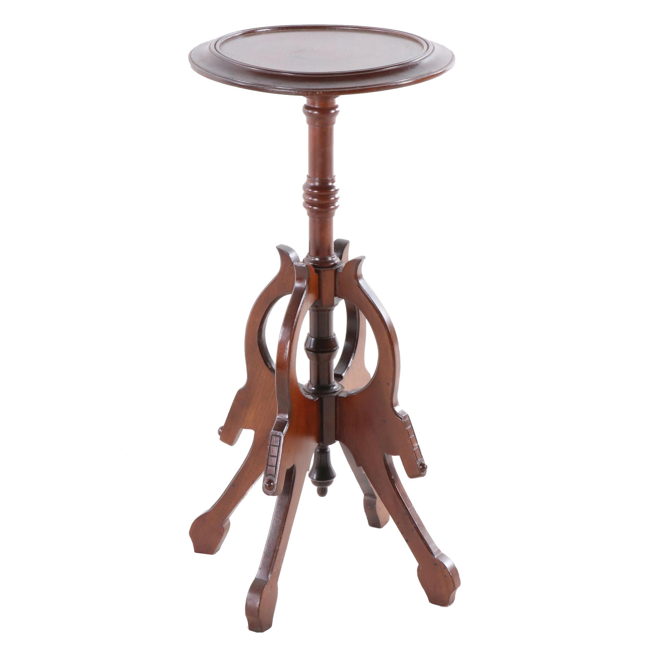 Eastlake Style Walnut-Finish Wooden Plant Stand, Early to Mid 20th Century