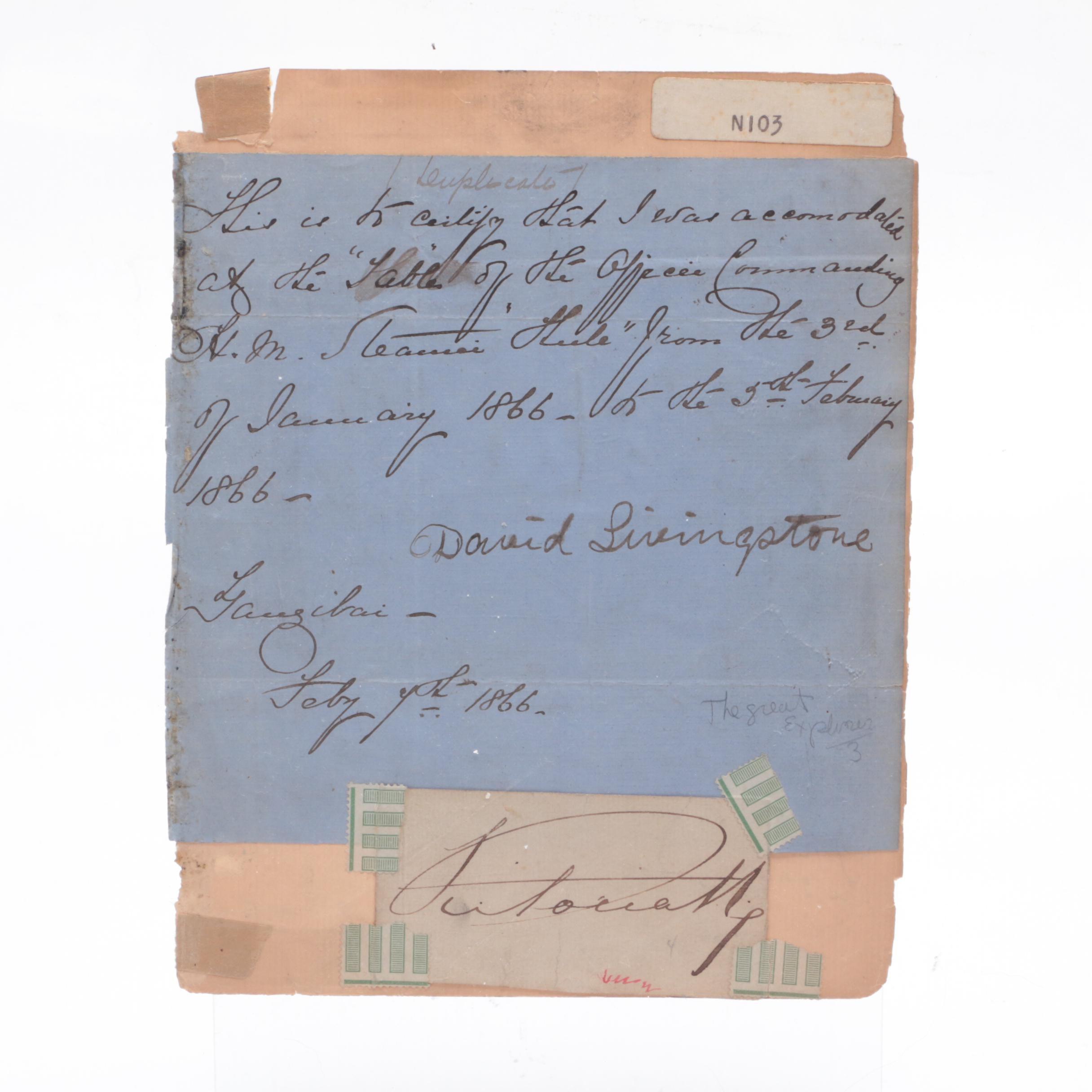 Dr. David Livingstone African Explorer 1866 Autograph Document Visual COA
