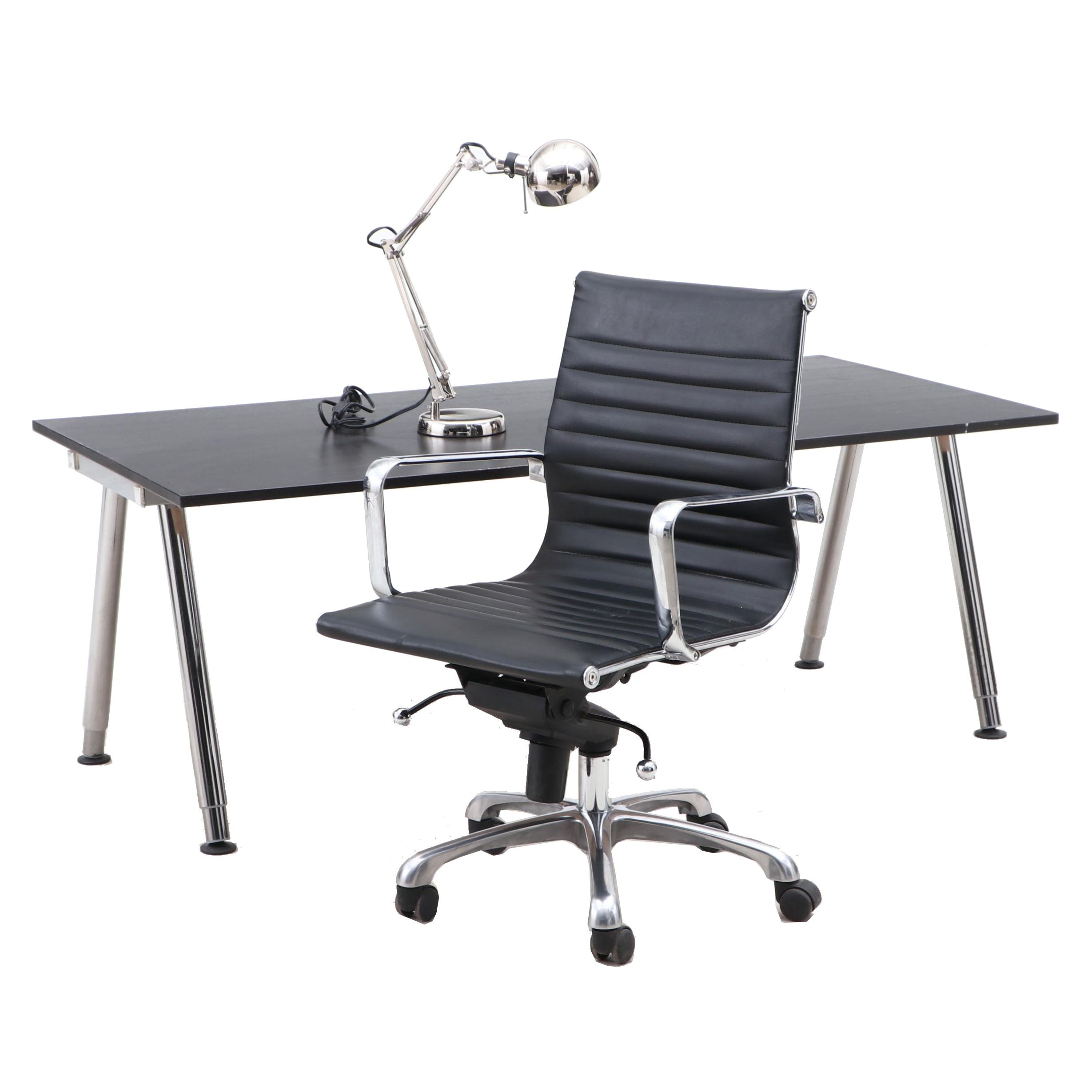 Adjustable Desk with Chair and Task Lamp