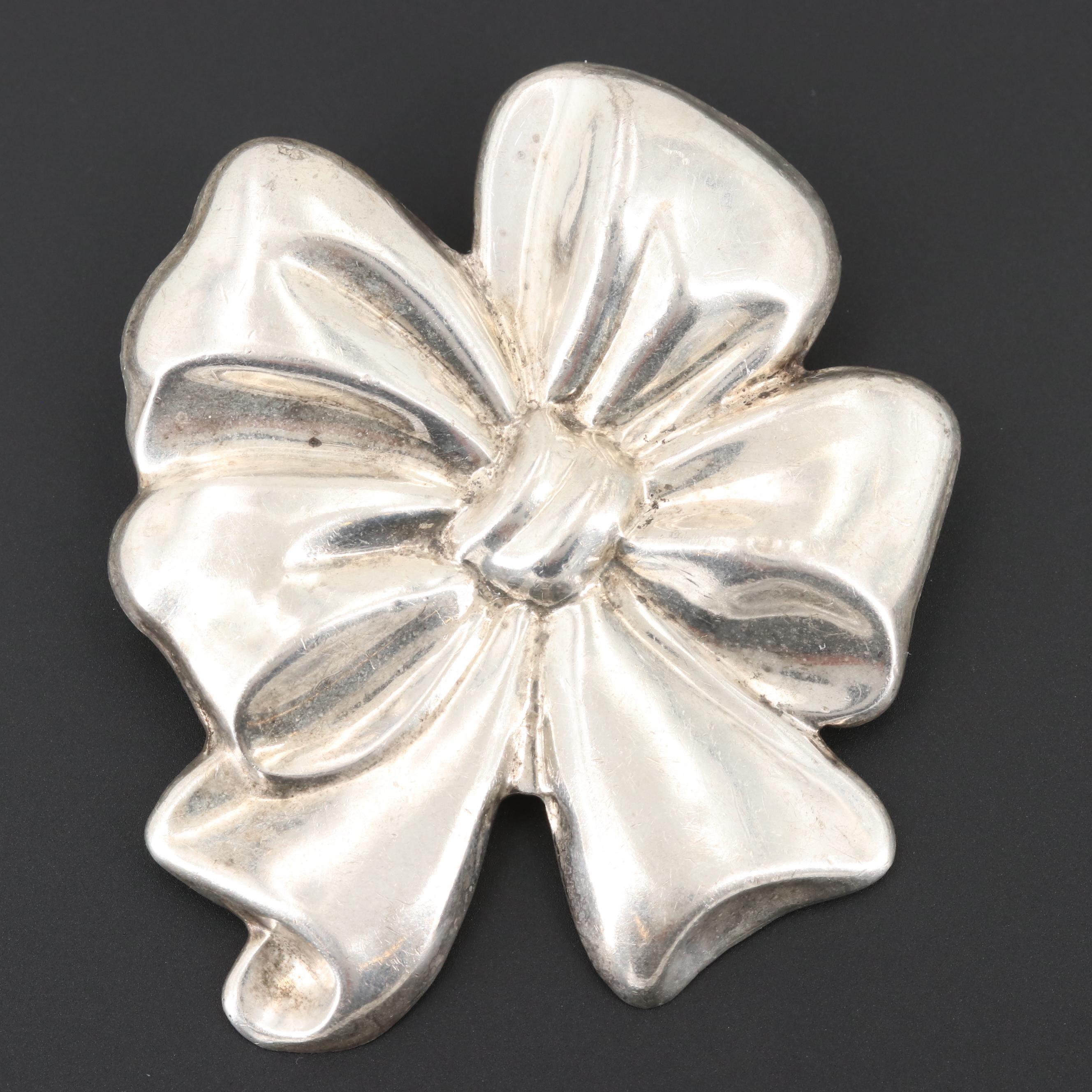 Taxco Sterling Silver Bow Converter Brooch