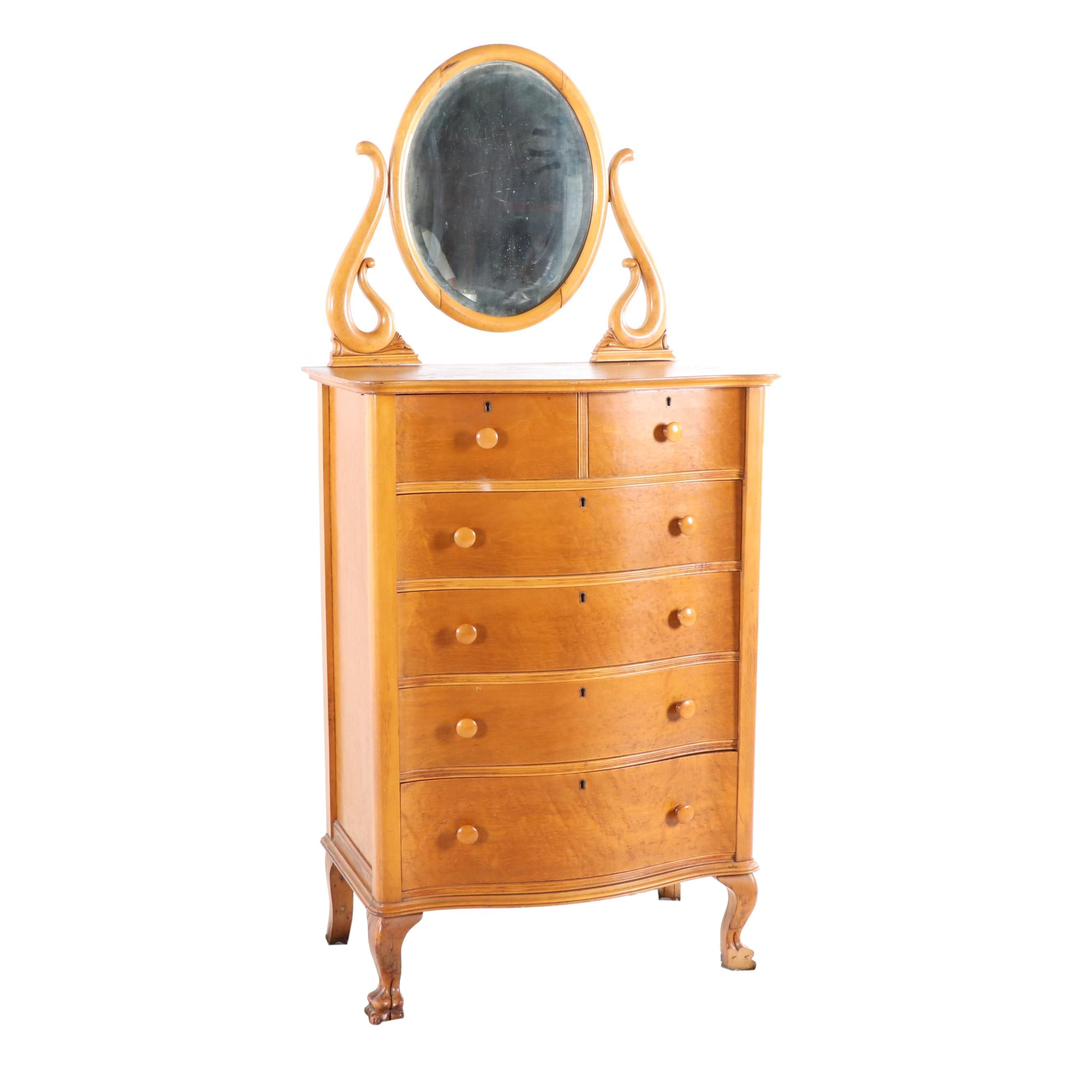 Colonial Revival Maple Mirrored Chest of Drawers, Early 20th Century