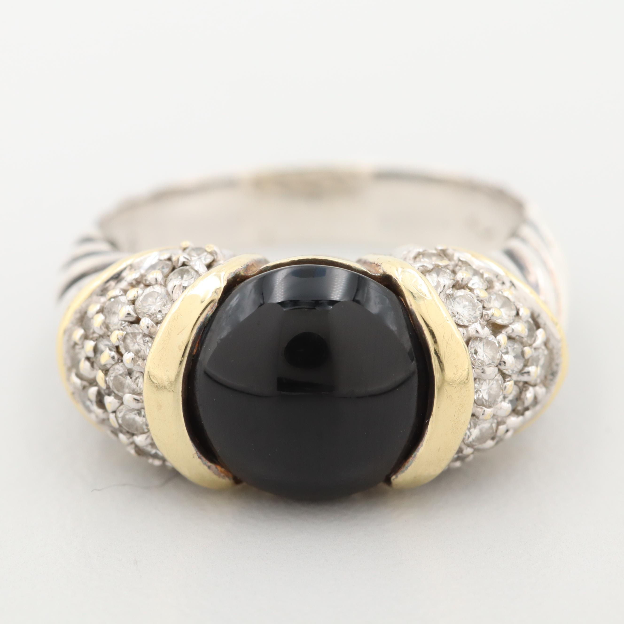 David Yurman Sterling Black Onyx and Diamond Ring with 18K Gold Accents