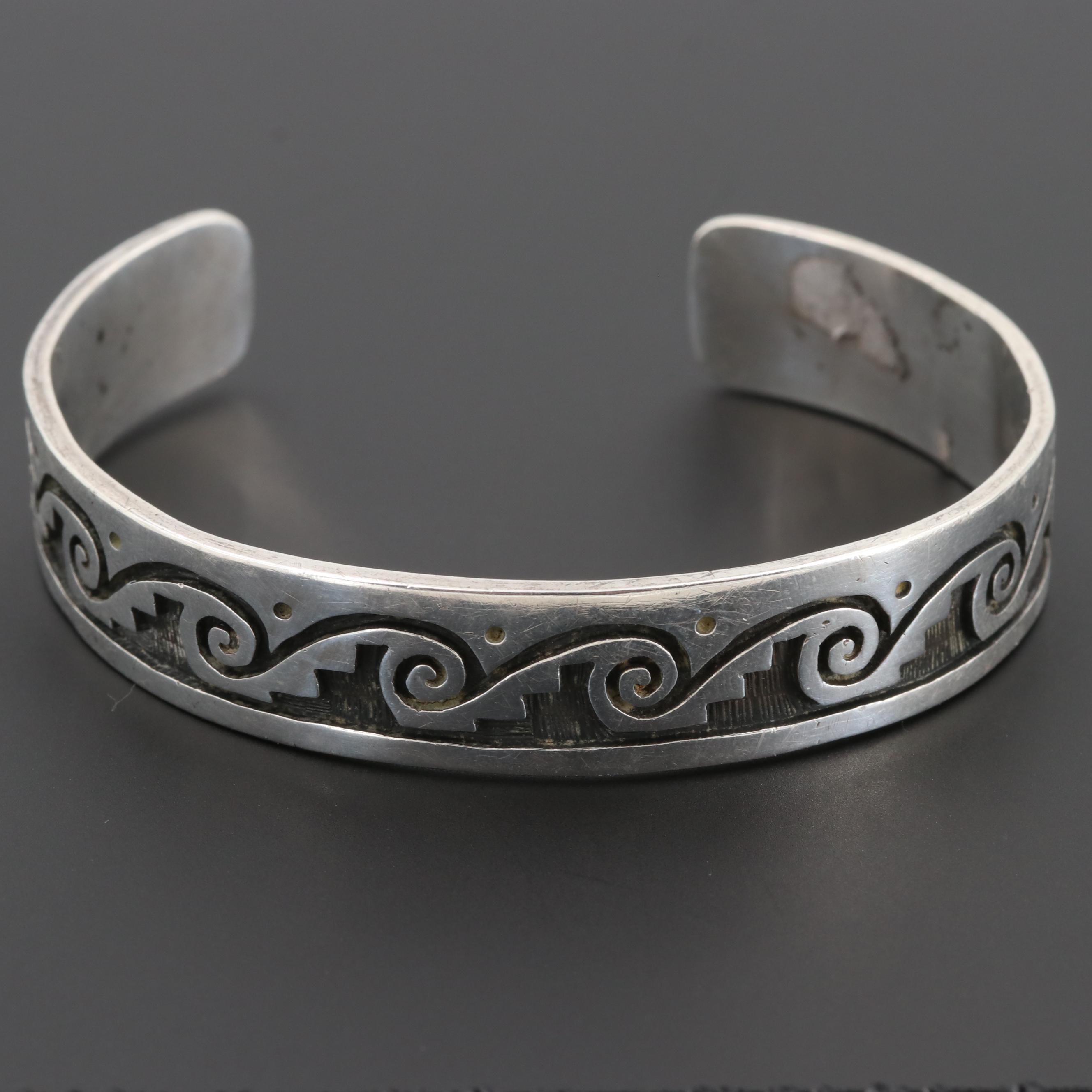 Cyrus Josytewa Hopi Sterling Silver Overlay Cuff Bracelet