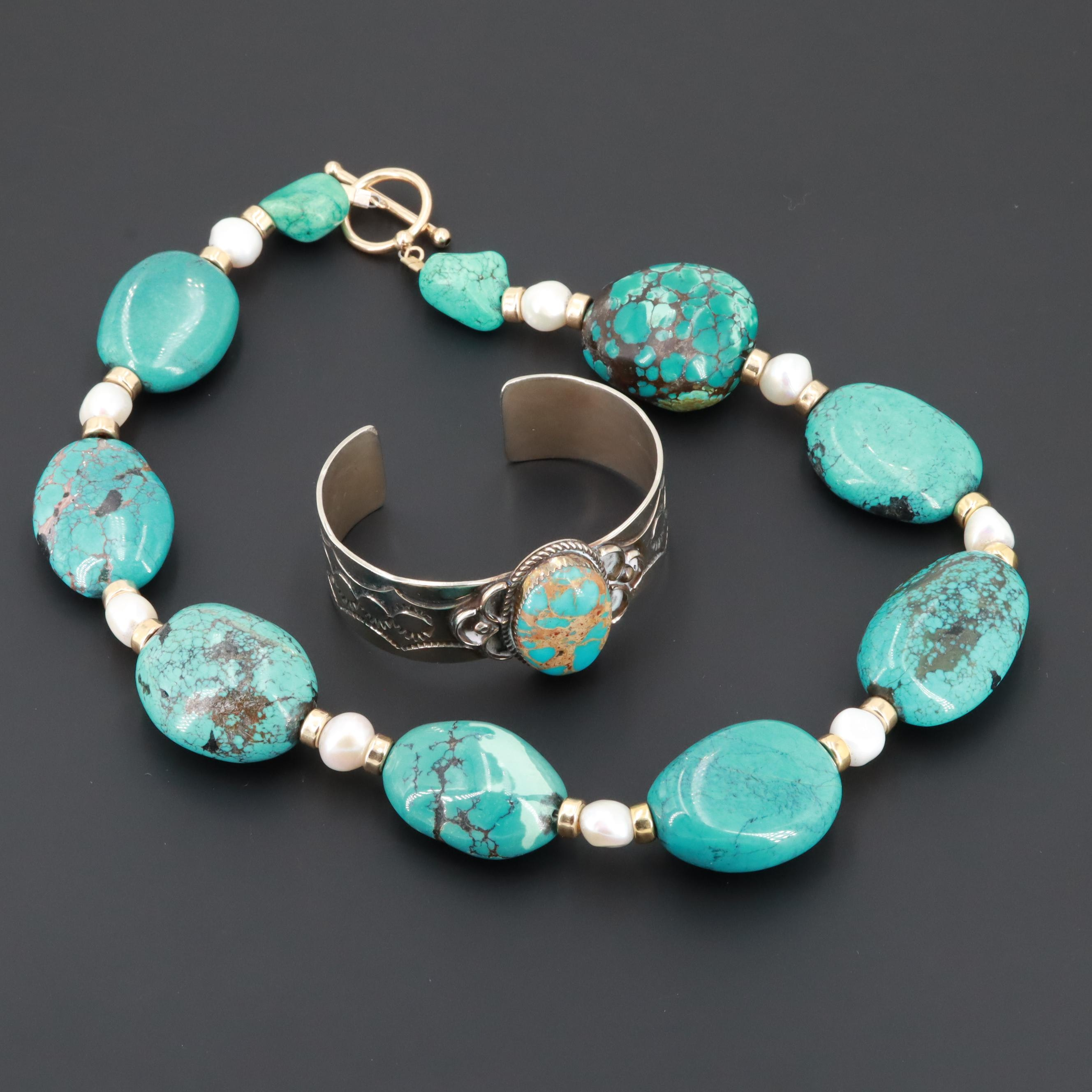 Southwestern Silver Tone Turquoise and Cultured Pearl Bracelet and Necklace