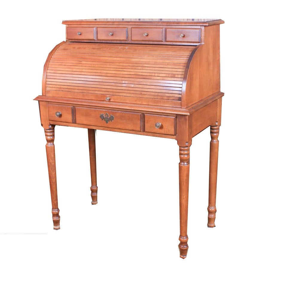 Young Republic Federal Style Solid Hard Rock Maple Roll-Top Desk