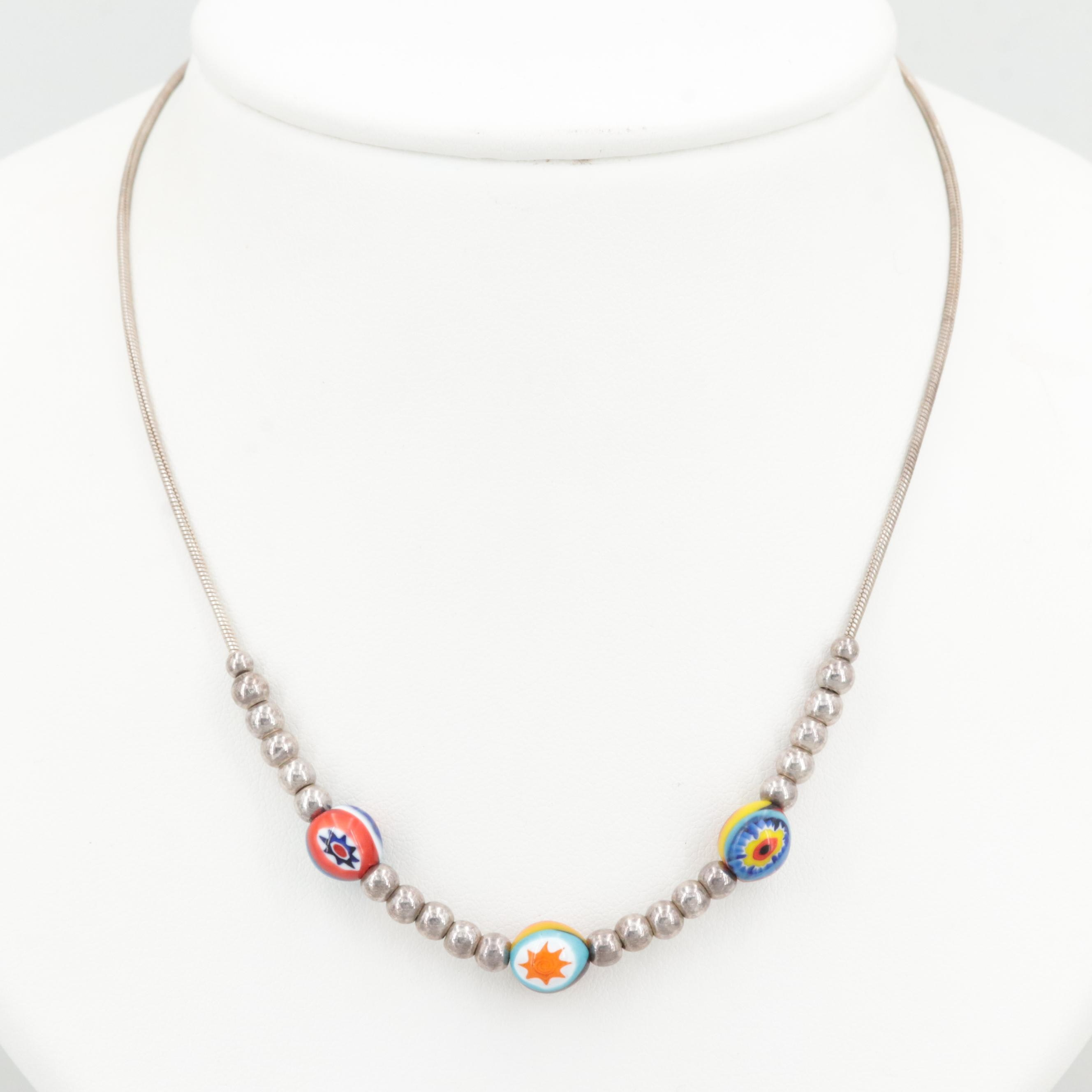 Sterling Silver Fused Glass Beaded Necklace