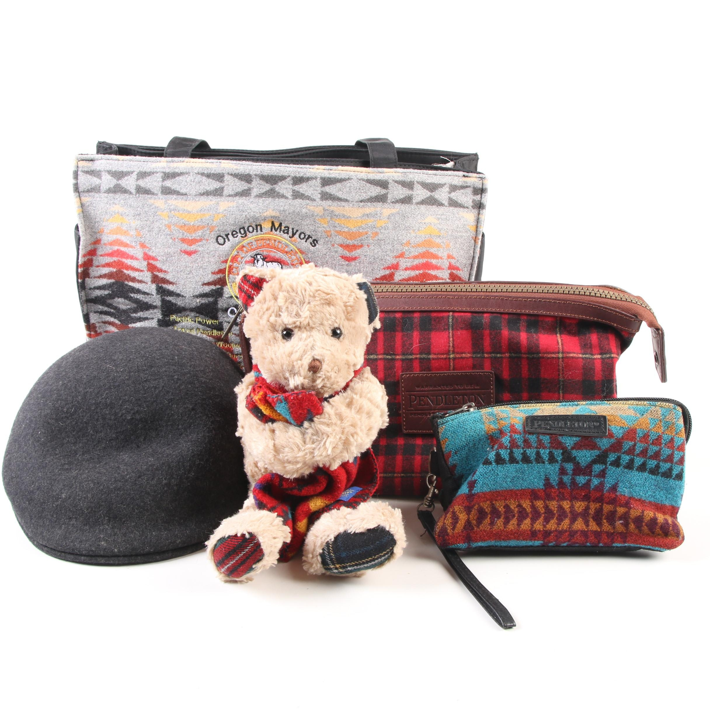 Pendleton Tote, Bear, Cuffley Hat and Accessory Bags
