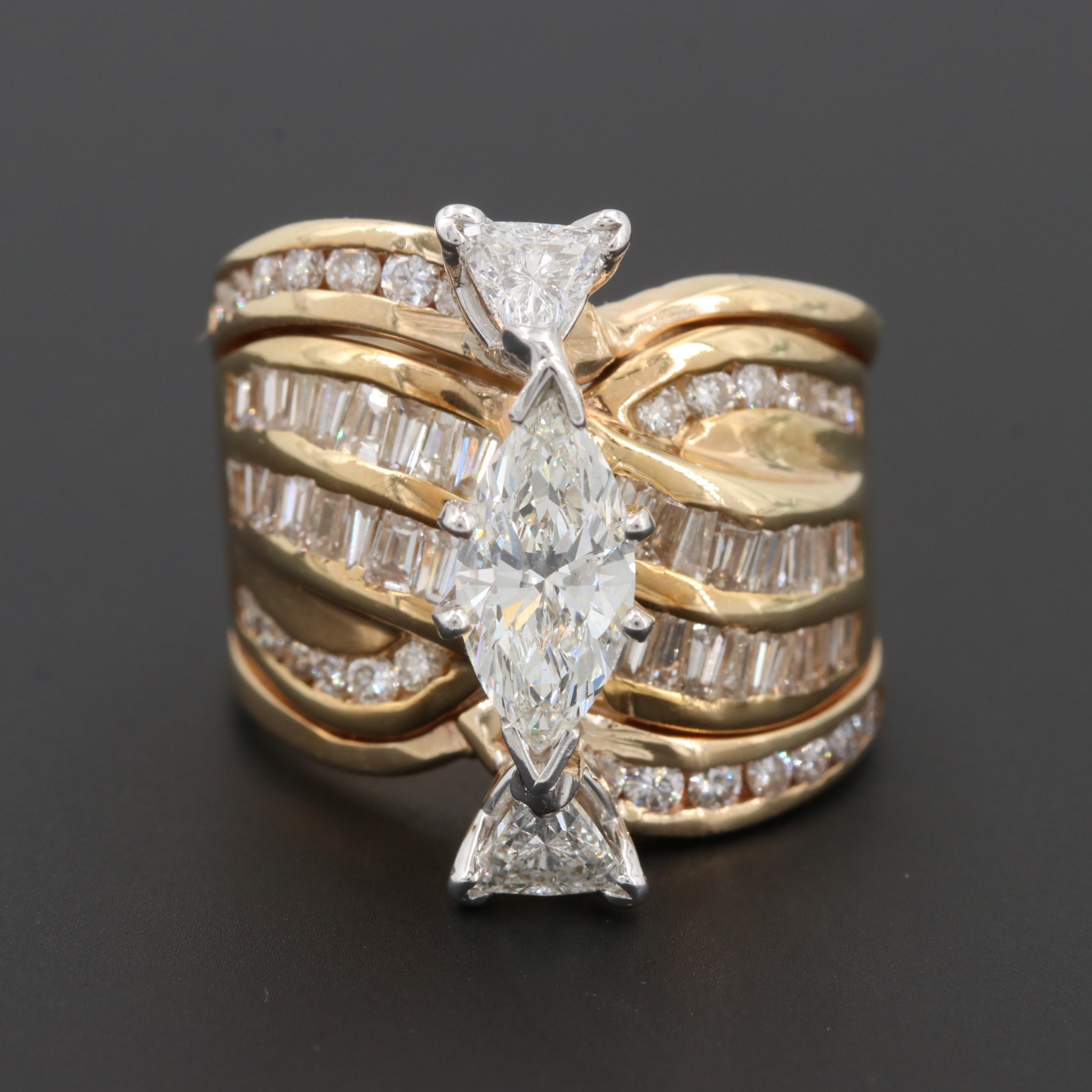 14K Yellow Gold 3.01 CTW Diamond Ring