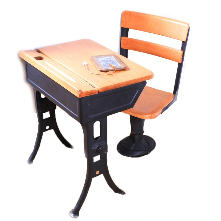 Hinge-Top Wood and Steel School Desk and Chair, 1960s