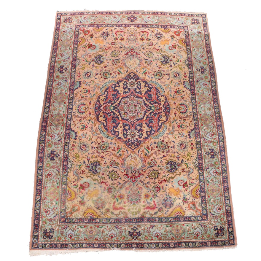 Hand-Knotted Persian Tabriz Pictorial Wool Rug