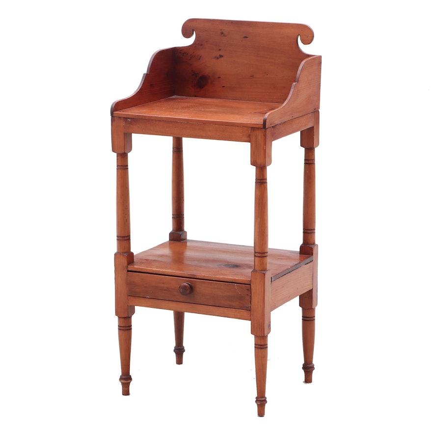 Late Federal Pine Wash Basin Stand, Early to Mid 19th Century