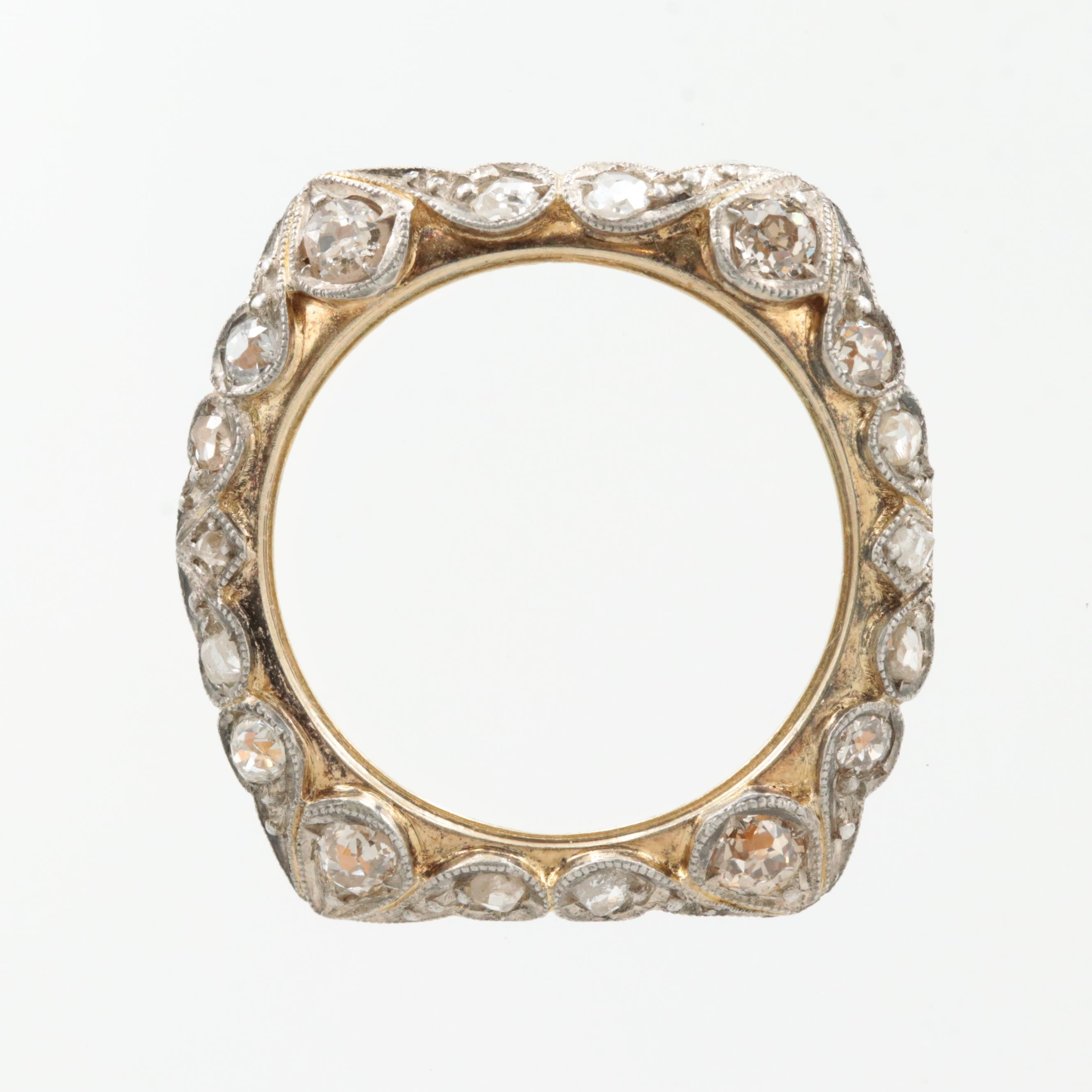 14K Yellow Gold and Sterling Silver Diamond Watch Bezel