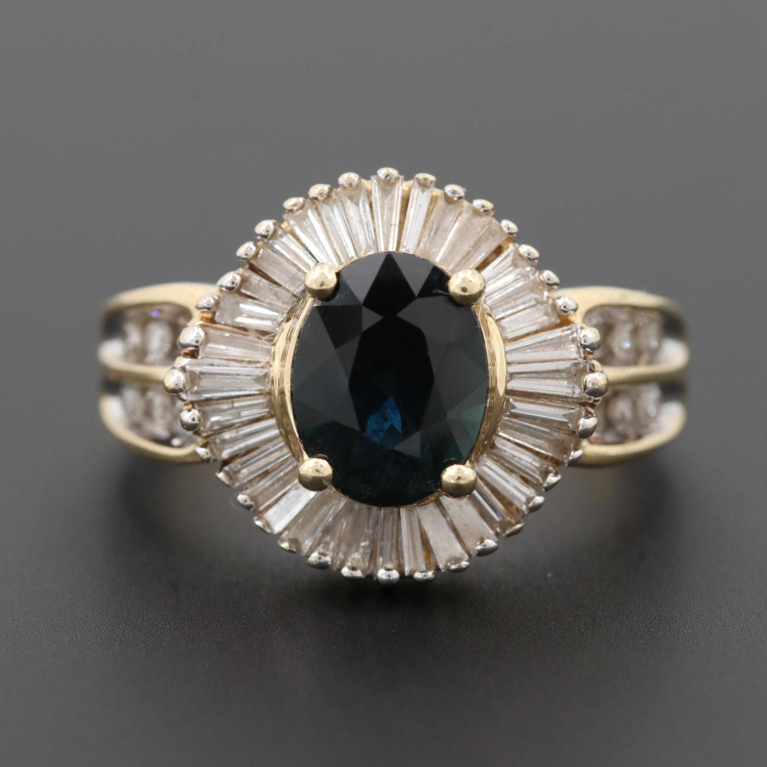 14K Yellow Gold 1.74 CT Sapphire and Diamond Ring
