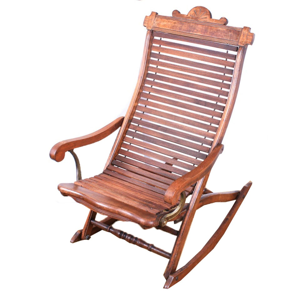 Victorian Walnut Collapsible Slatted Back Rocking Chair, Late 19th Century