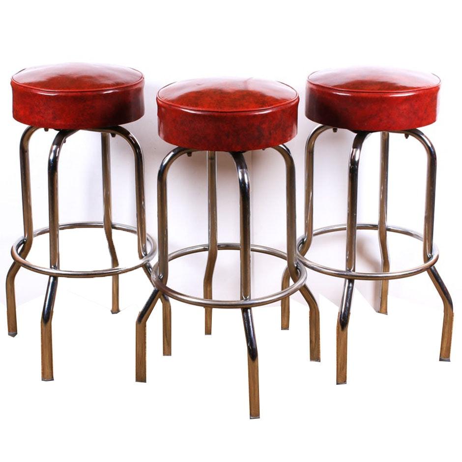 Vinyl Upholstered Chromed Steel Swivel Bar Stools, Set of Three