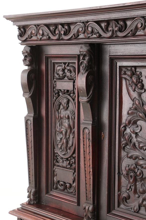 Italian Renaissance Style Walnut China Cabinet, Late 19th ...