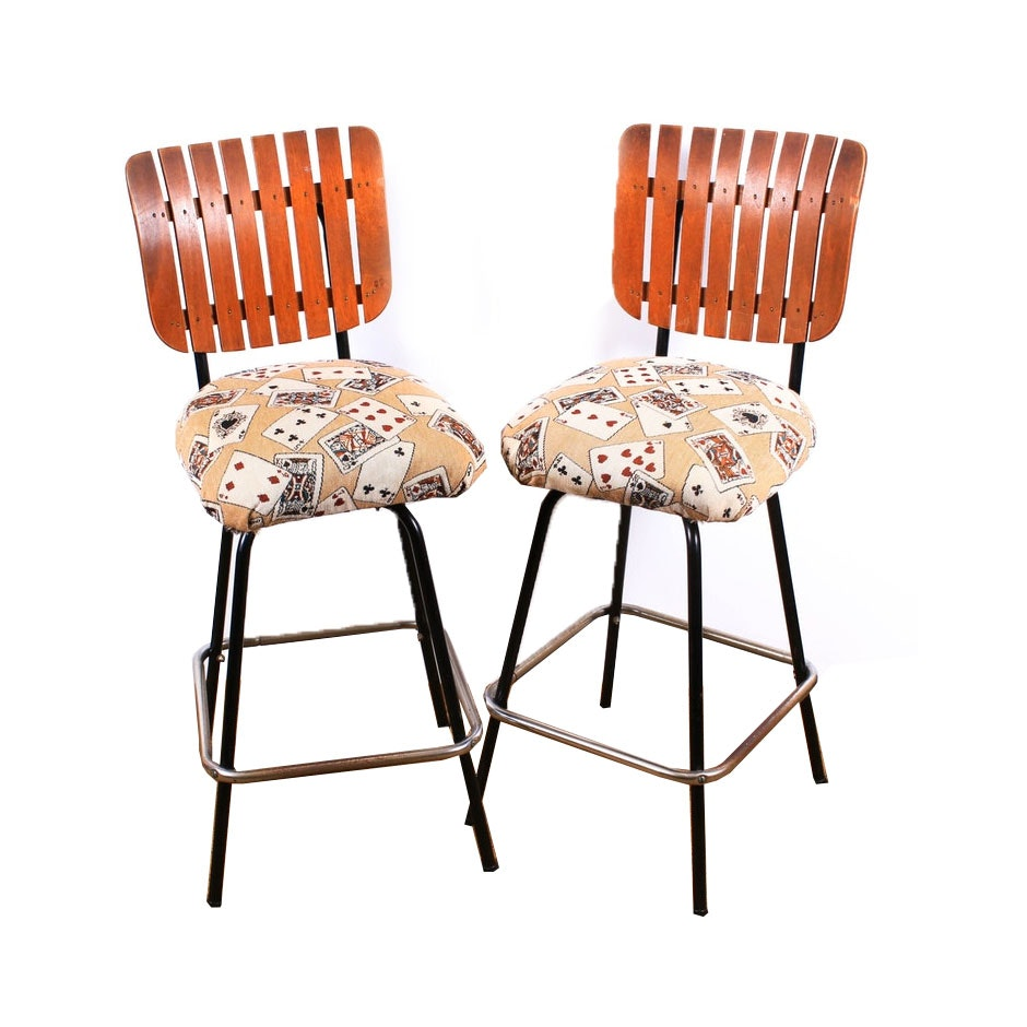Mid-Century Slatted Back and Tubular Steel Swivel Bar Chairs, Set of Two