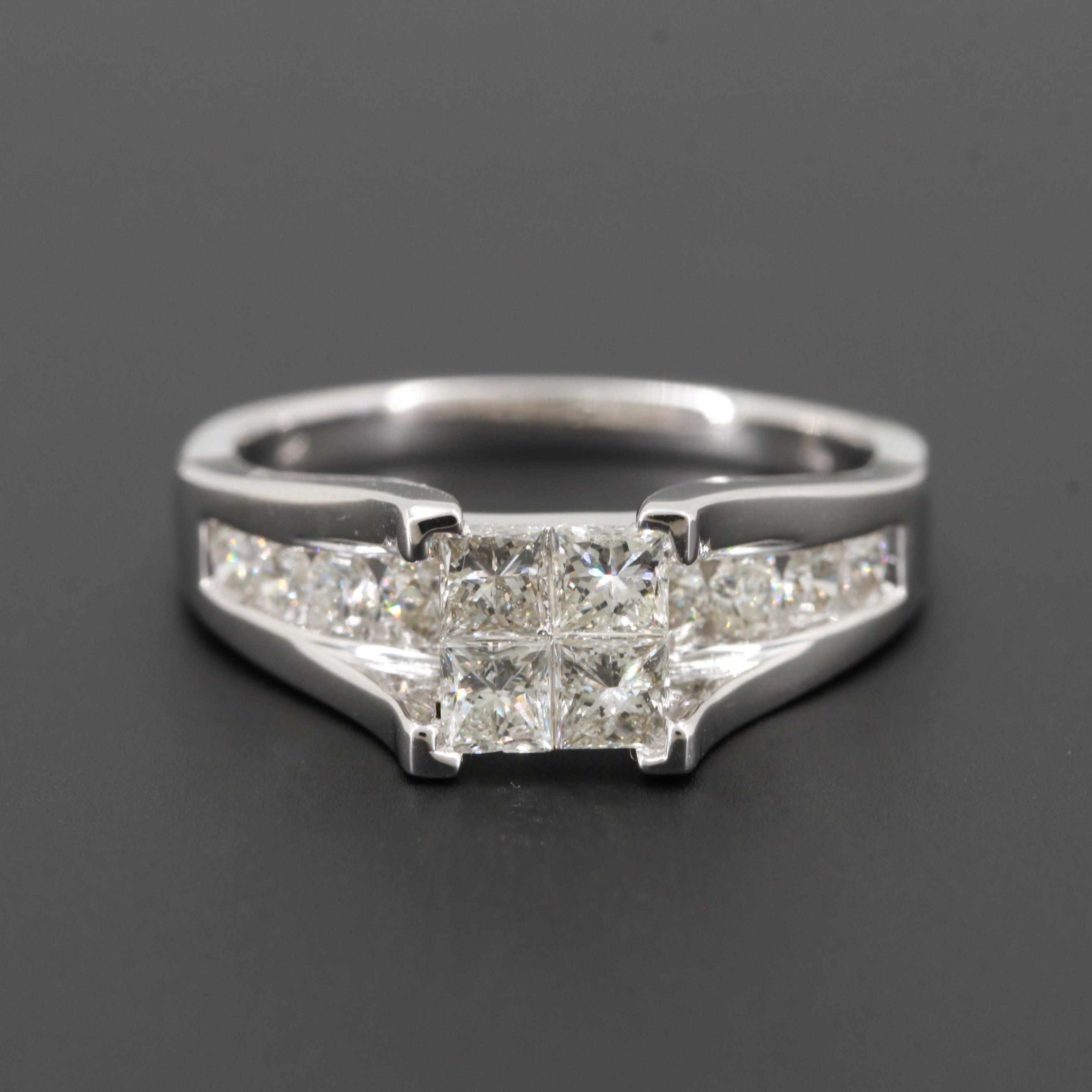 14K White Gold 1.48 CTW Diamond Ring