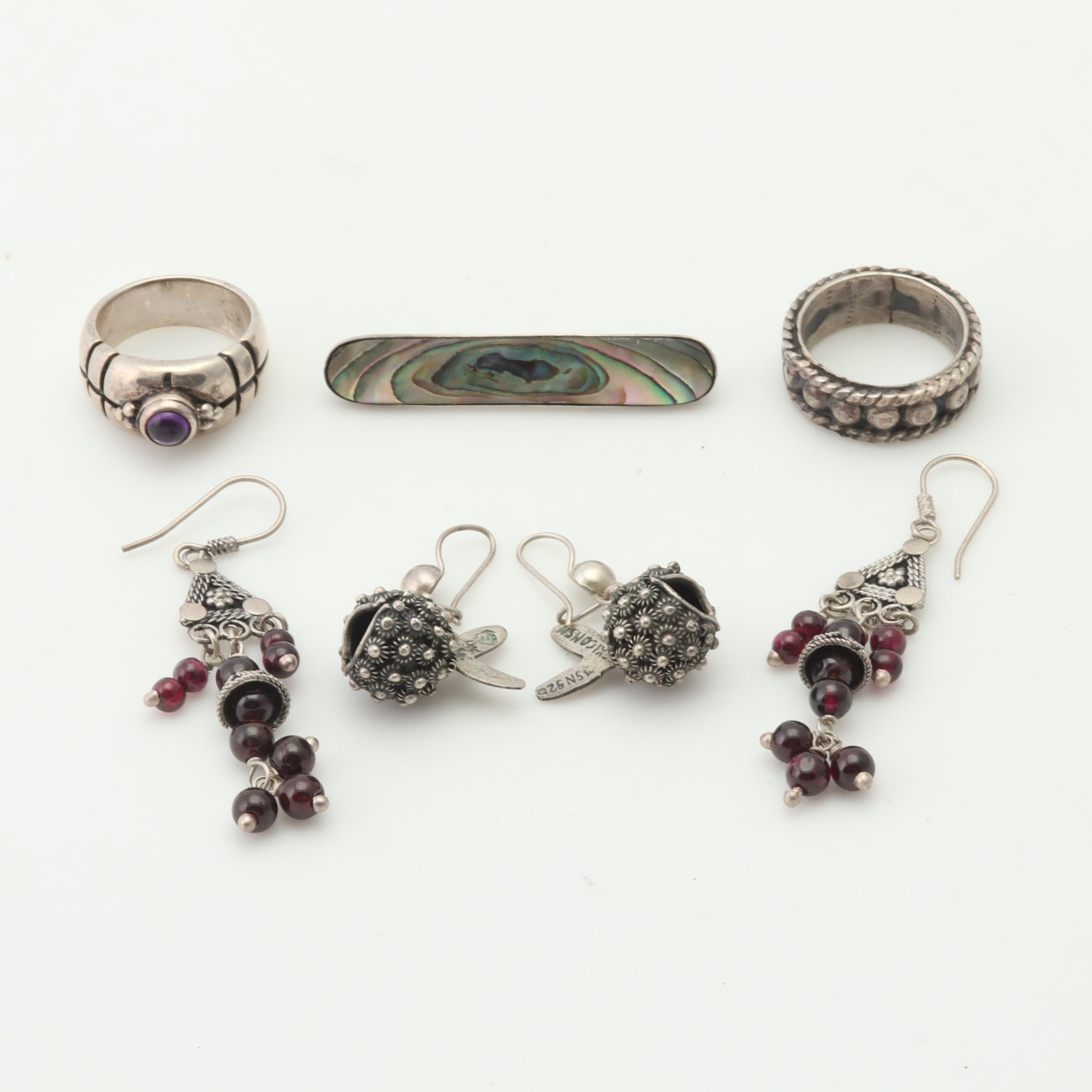 Sterling Silver Filigree Adorned Jewelry with Garnet, Abalone and More