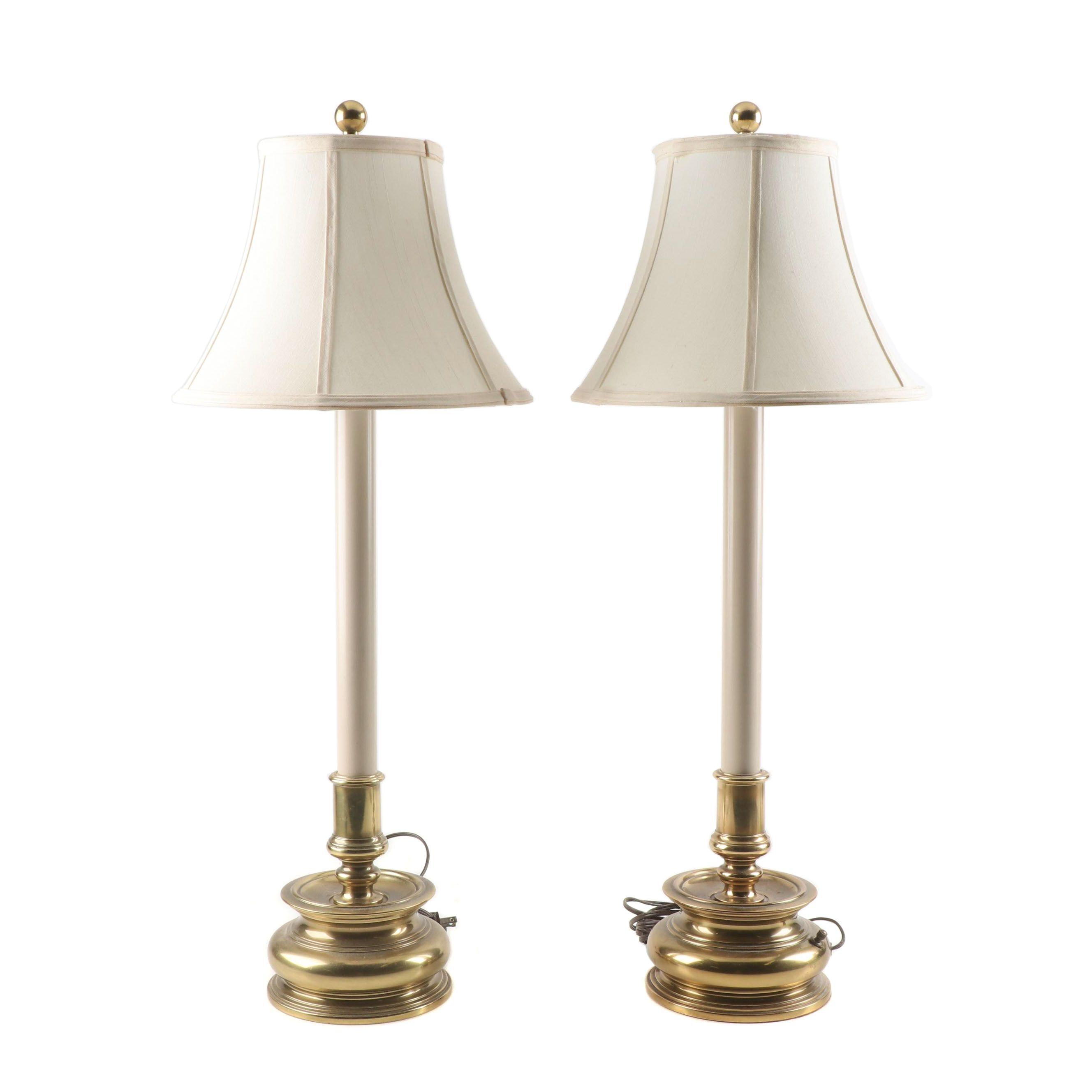 Stiffel Brass Candlestick Buffet Lamps