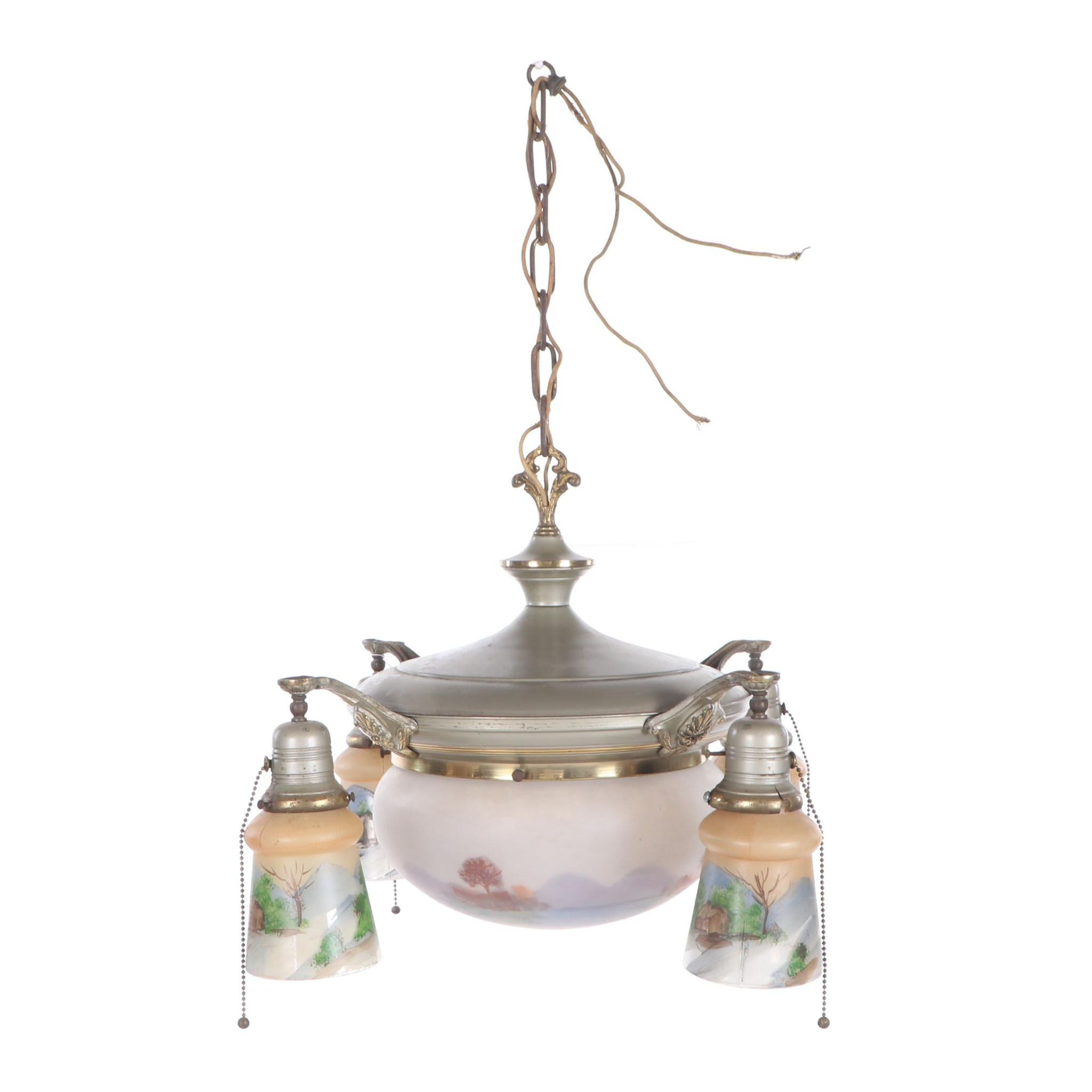 Metal Chandelier with Hand-Painted Glass Shades, Mid 20th Century