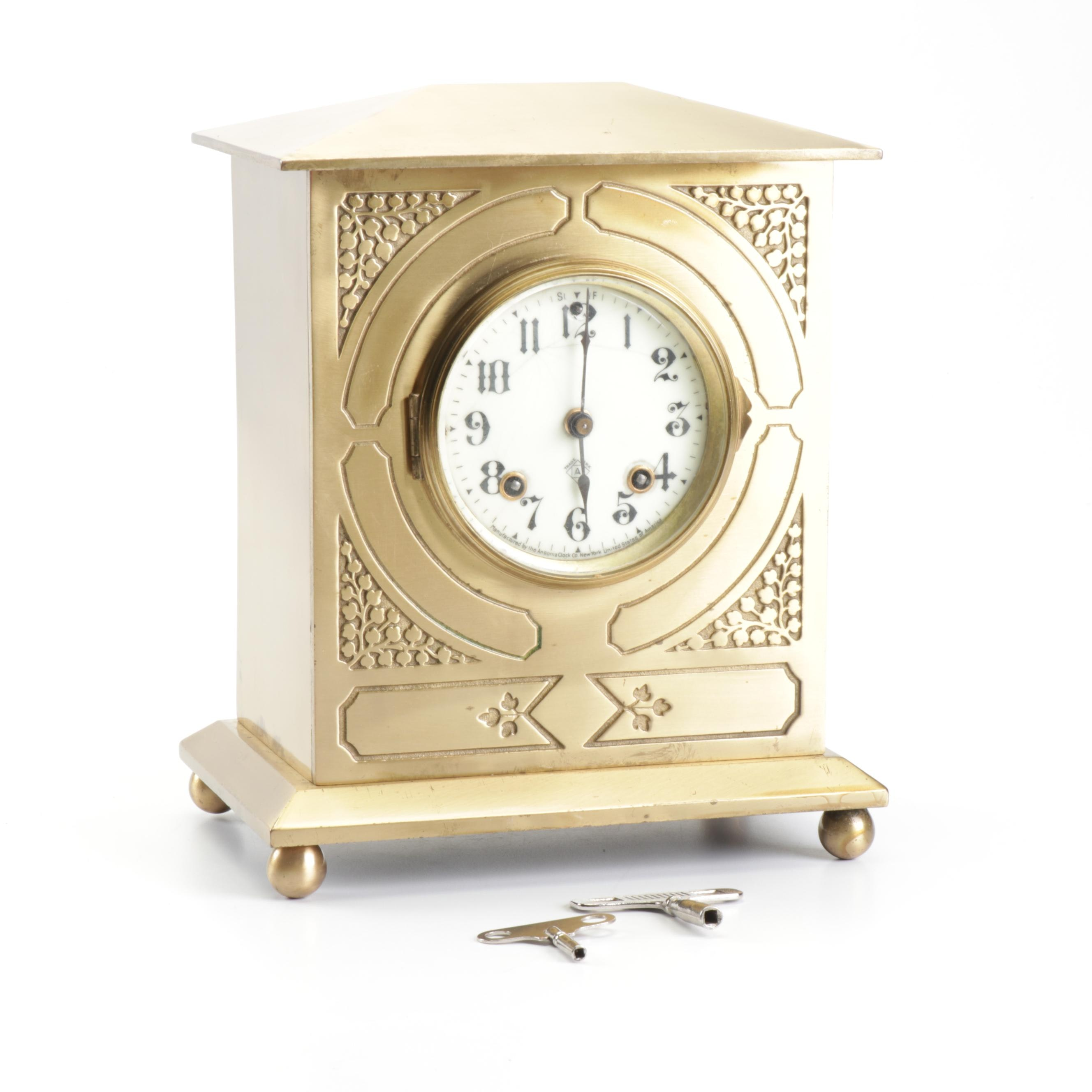 Ansonia Brass Case Mantel Clock with Porcelain Face