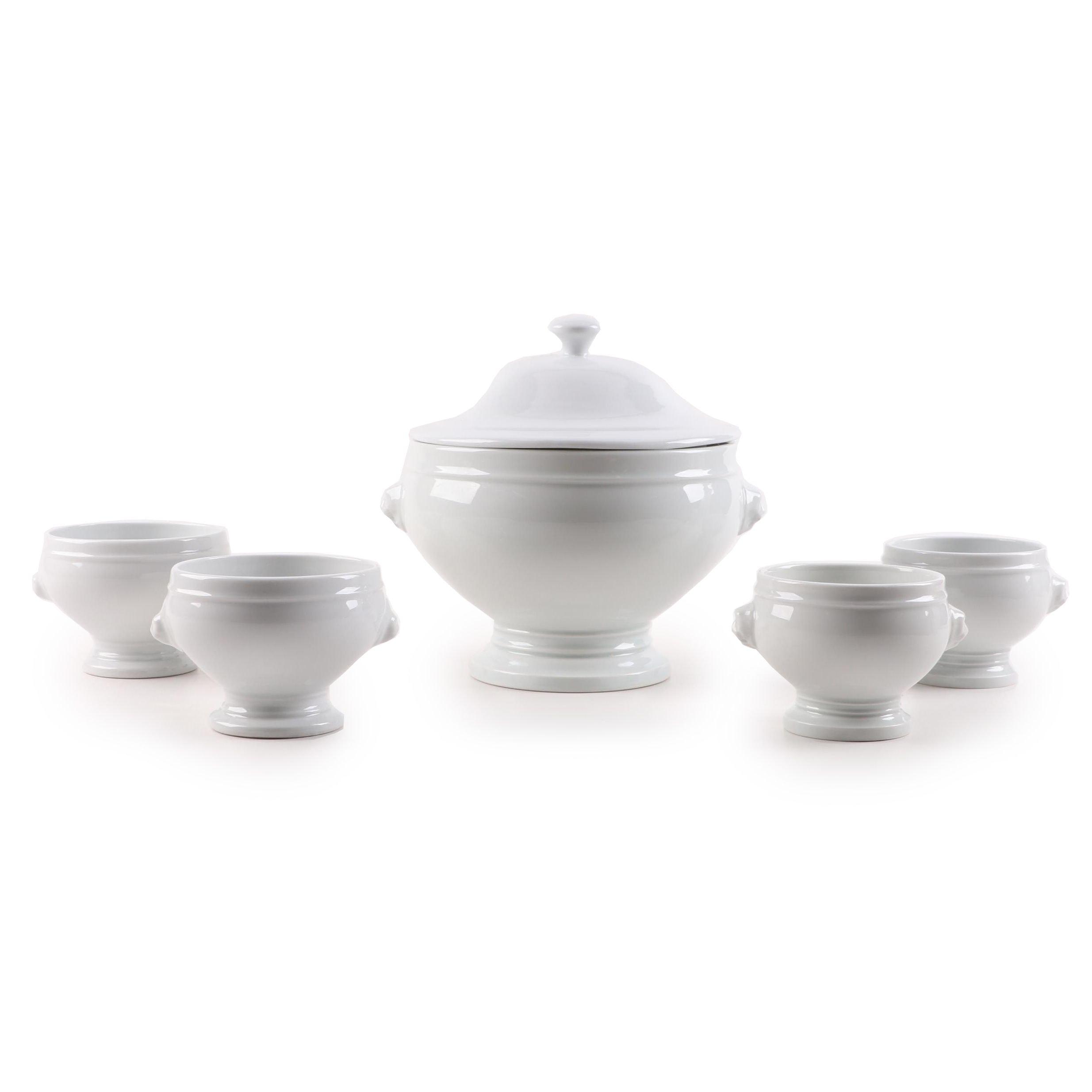Pillivuyt Porcelain Soup Tureen and Bowls