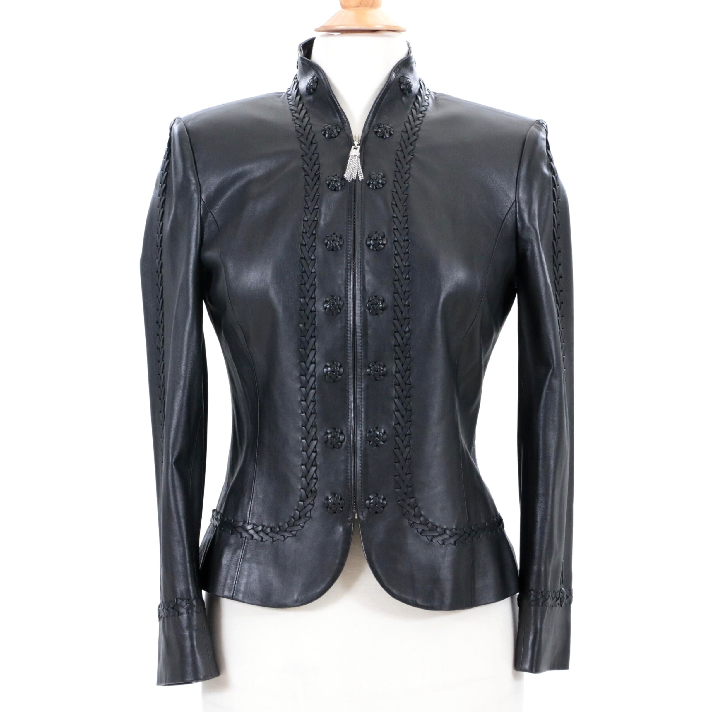 St. John Collection Black Leather Jacket with Woven Leather Accents and Tassel