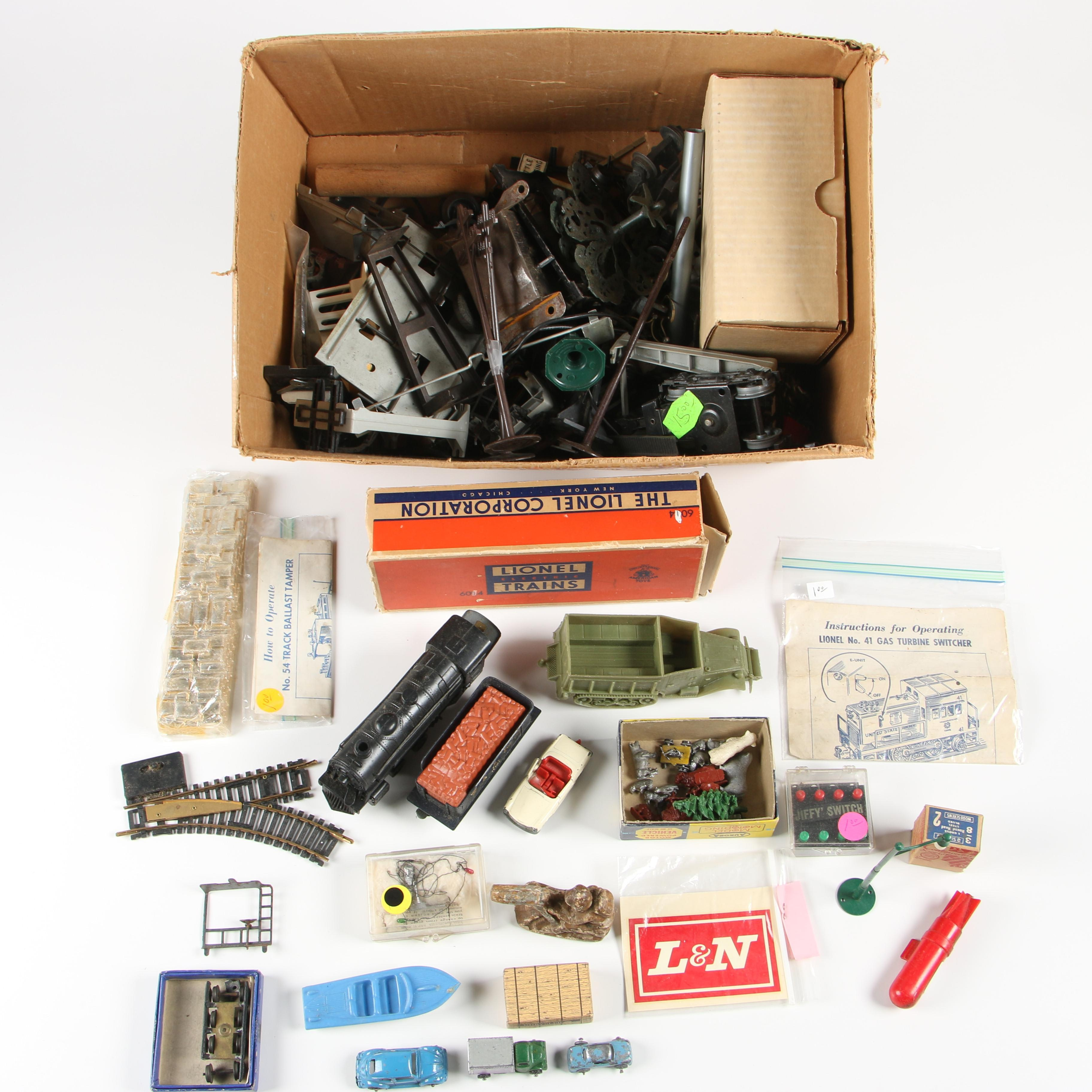 Mixed Lot of Train Accessories, Toy Cars, and More