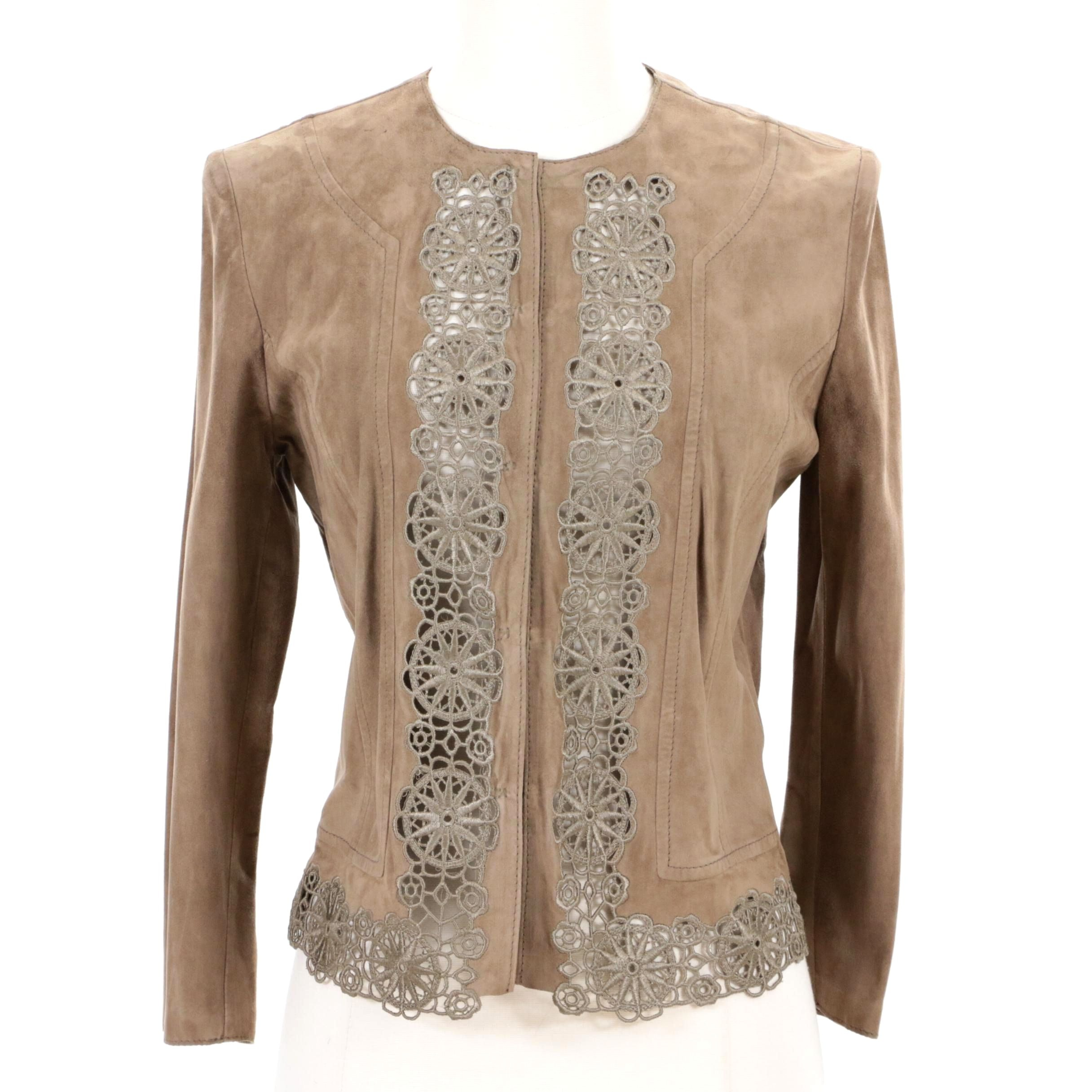 Valentino Taupe Goatskin Jacket with Crocheted Trim
