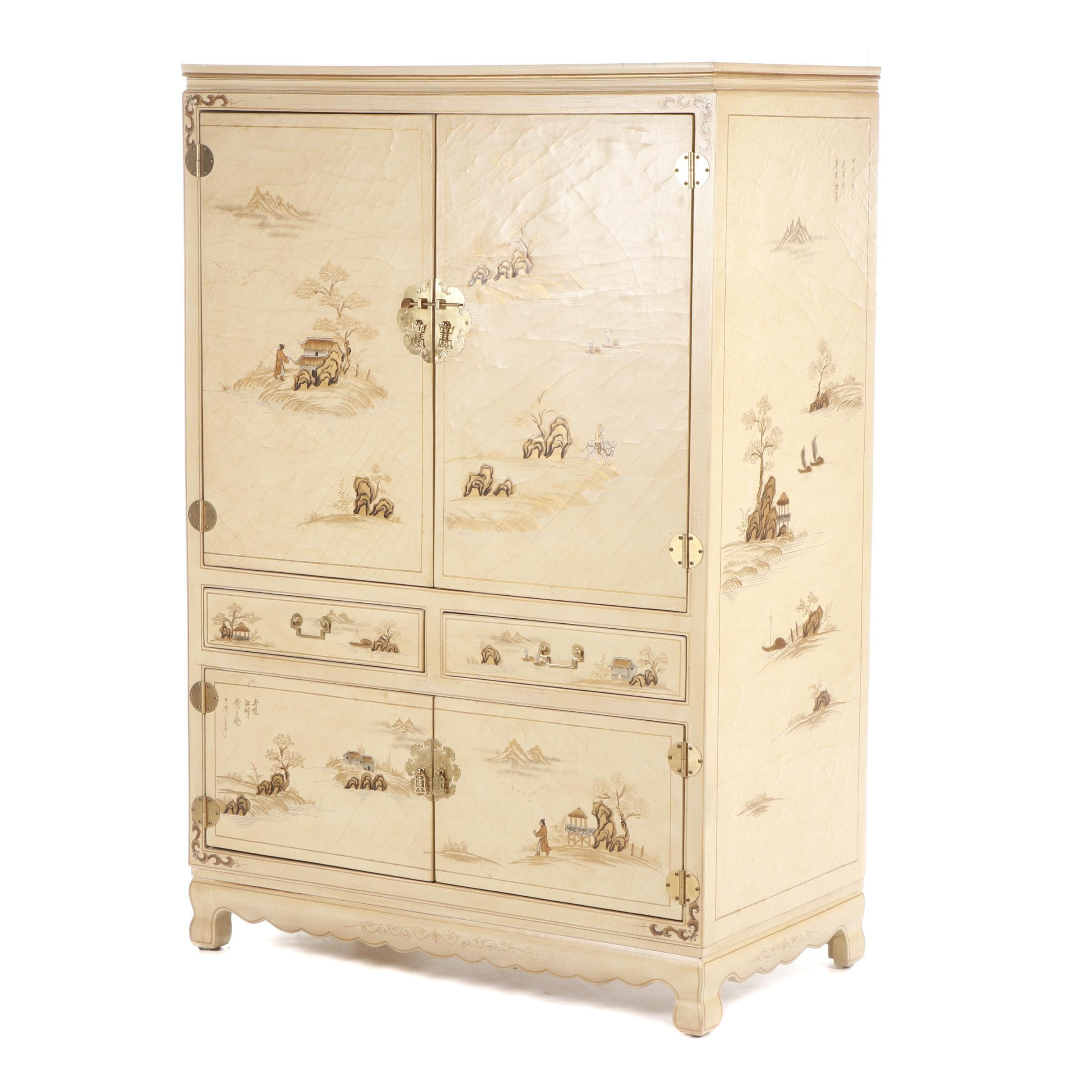 Contemporary Chinese Style Paint-Decorated Wooden Media Cabinet