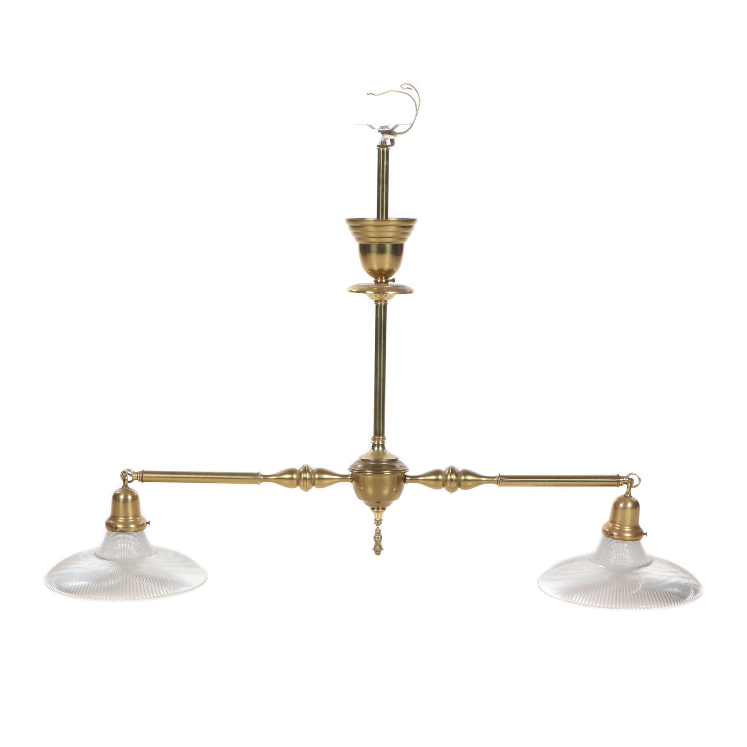 Victorian Style Brass Finished Gas Style Two Arm Ceiling Pendant