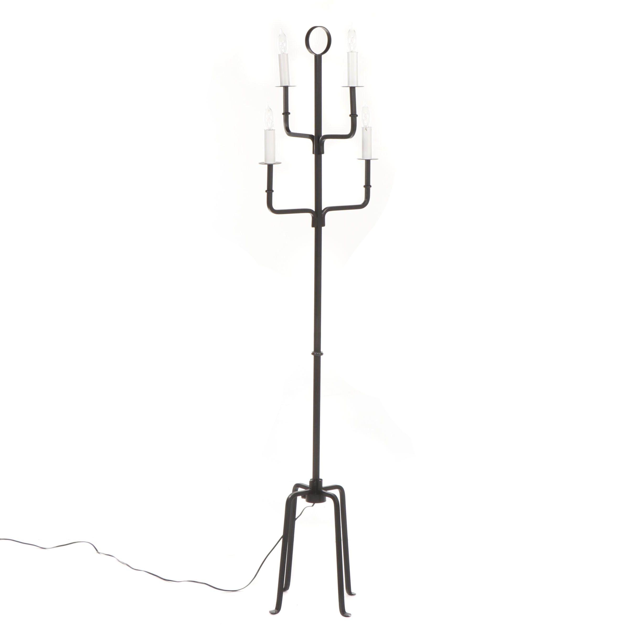 Contemporary Black Iron Floor Lamp