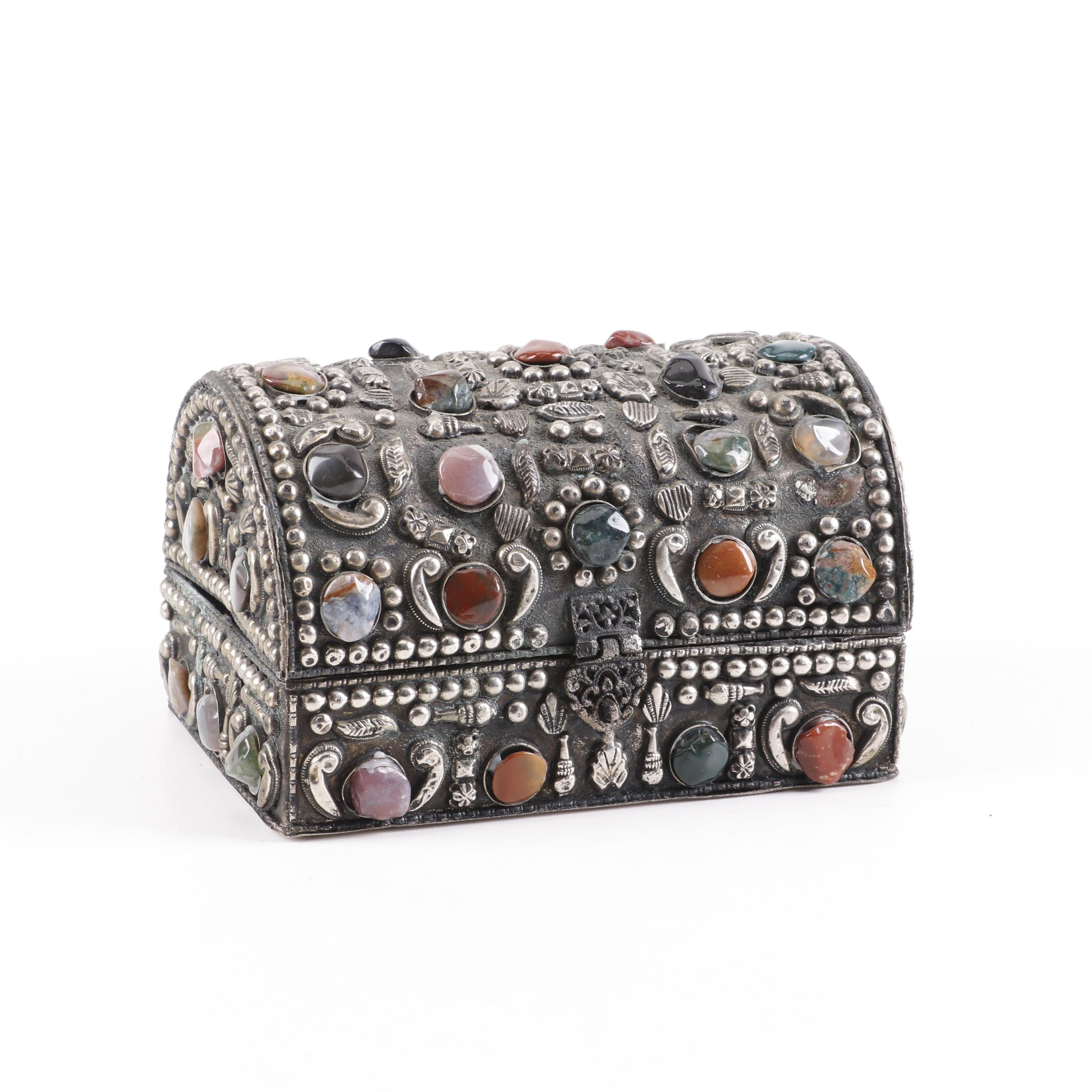 Indian Repoussé Brass and Gemstone Inlay Jewelry Box