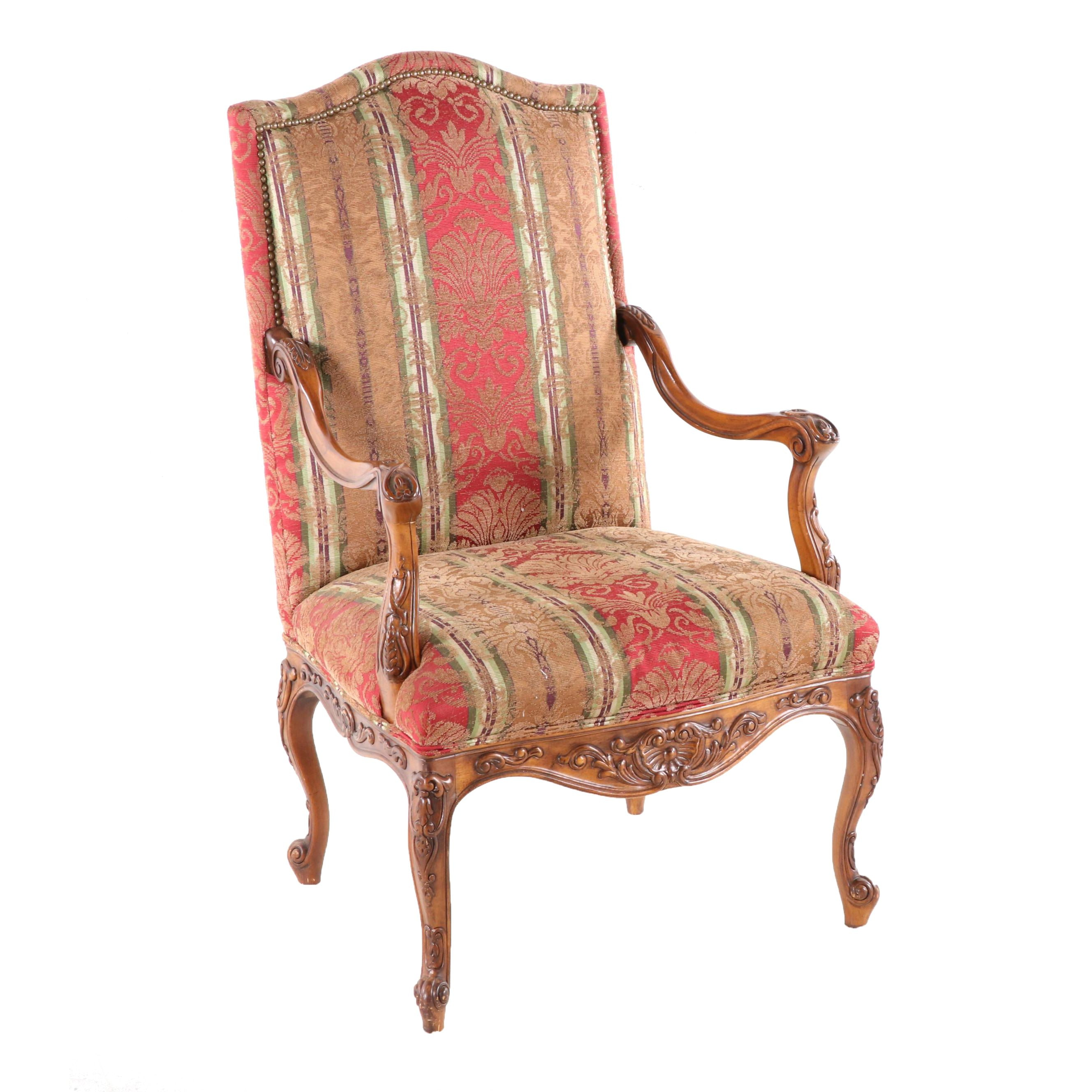Louis XV Style Carved Wooden Upholstered Armchair, Late 20th Century