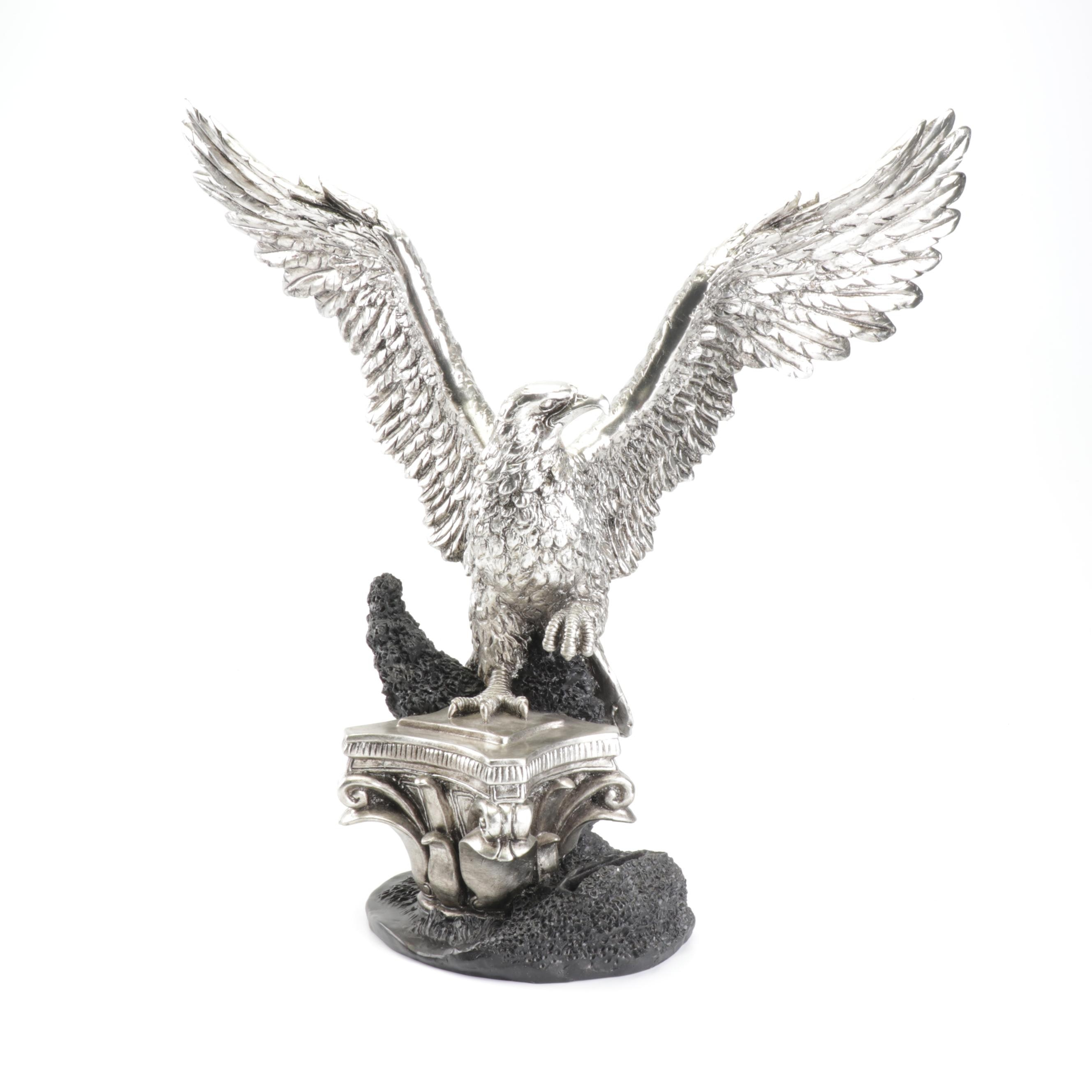 Silver-Toned Resin Eagle Sculpture