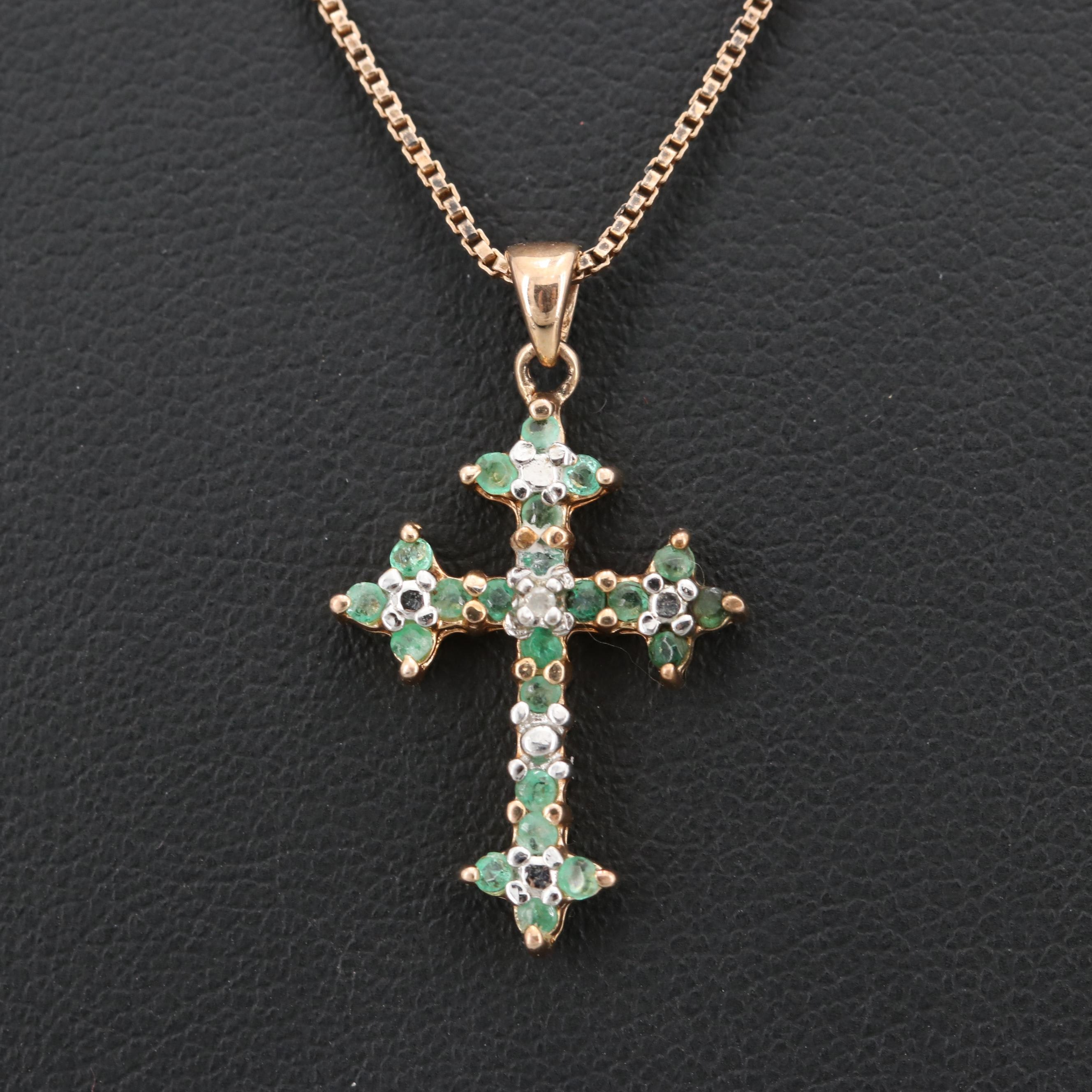 Gold Wash on Sterling Silver Emerald and Diamond Cross Pendant Necklace